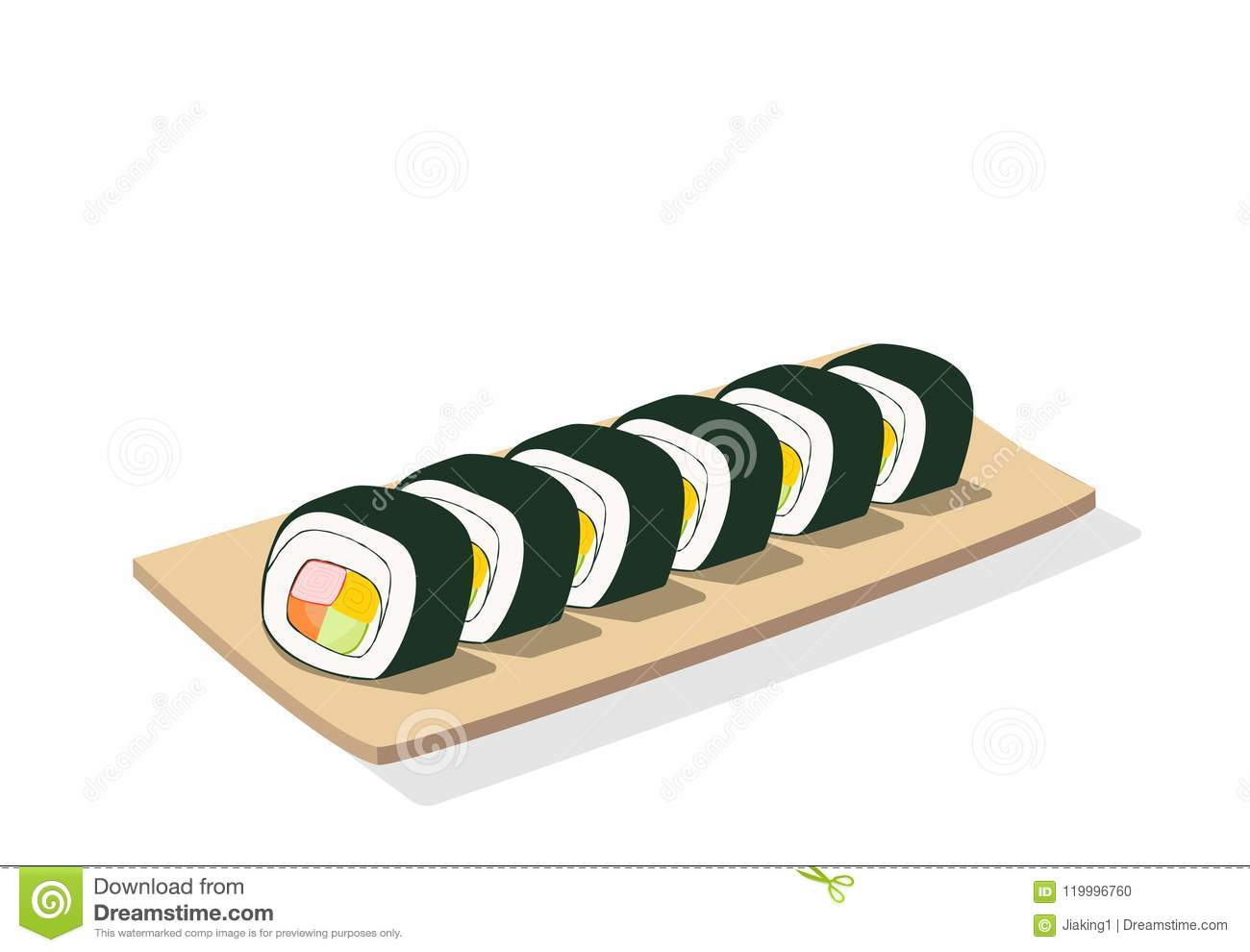 Sliced sushi roll on wooden plate, isolated vector