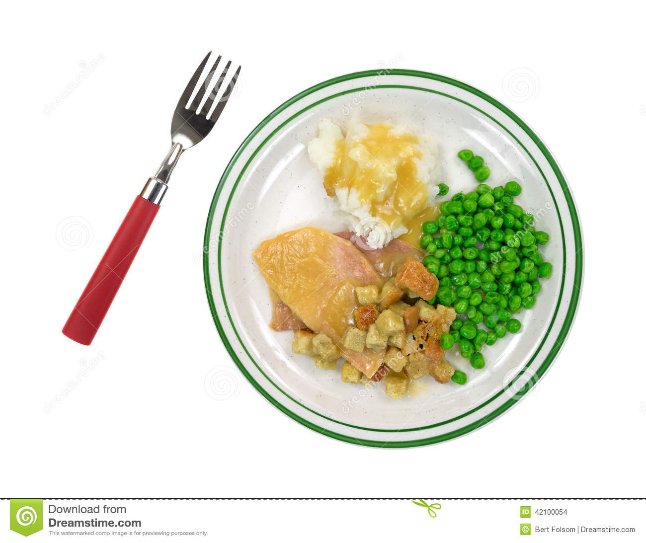 Sliced Turkey Tv Dinner On Plate With Fork Stock Photo  sc 1 st  Castrophotos : plate dinner - Pezcame.Com