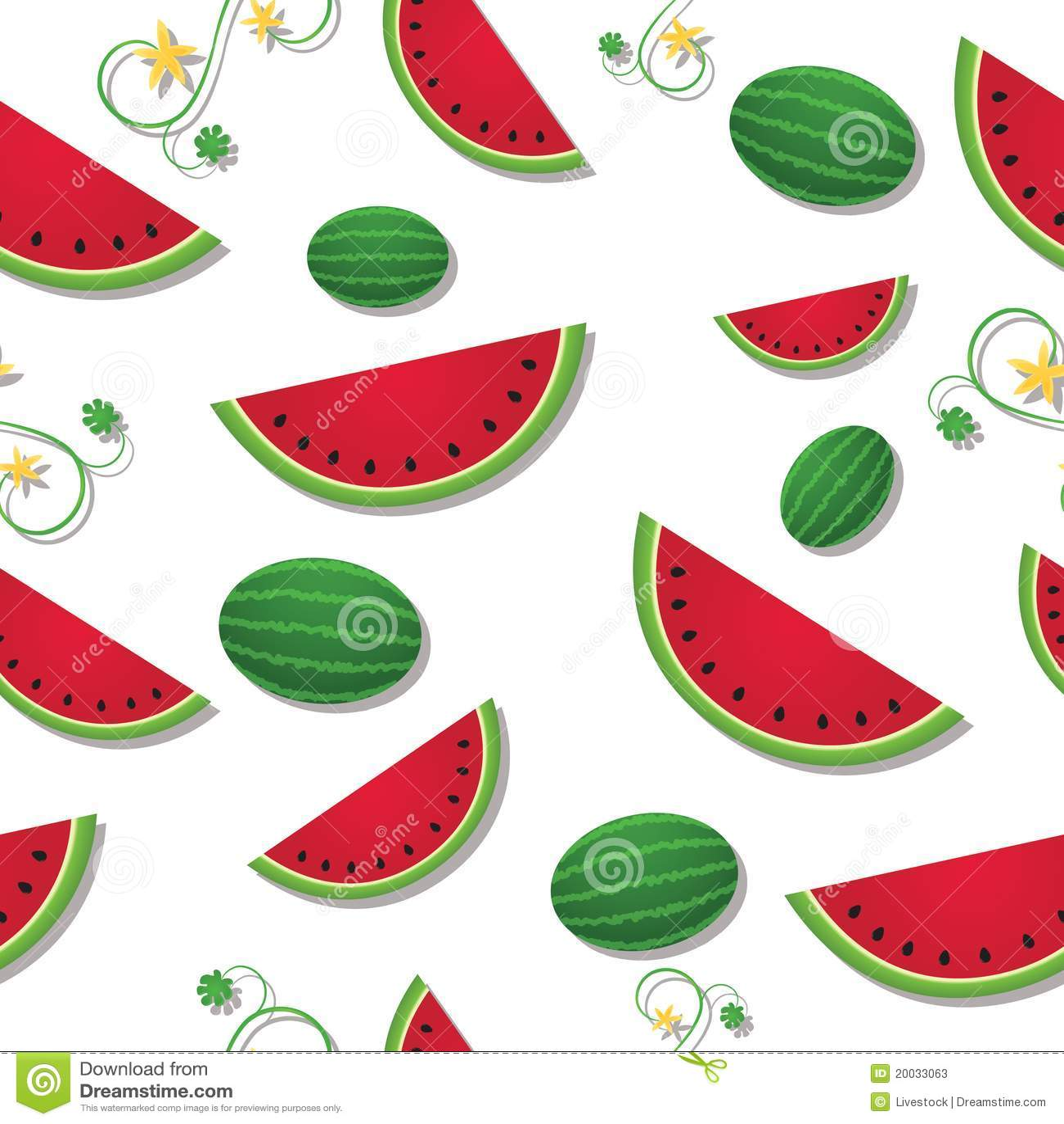 Watermelon Vine Clip Art Sliced watermelon with vines