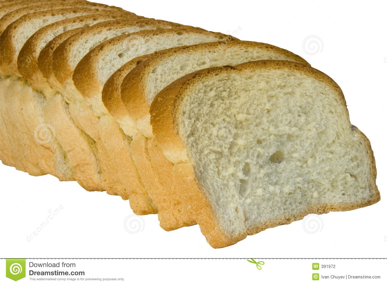Slices of bread isolated on white background with clipping path.