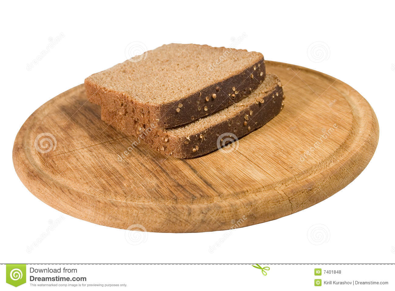 Slices Of Brown Bread On A Plate Royalty Free Stock Photos ...