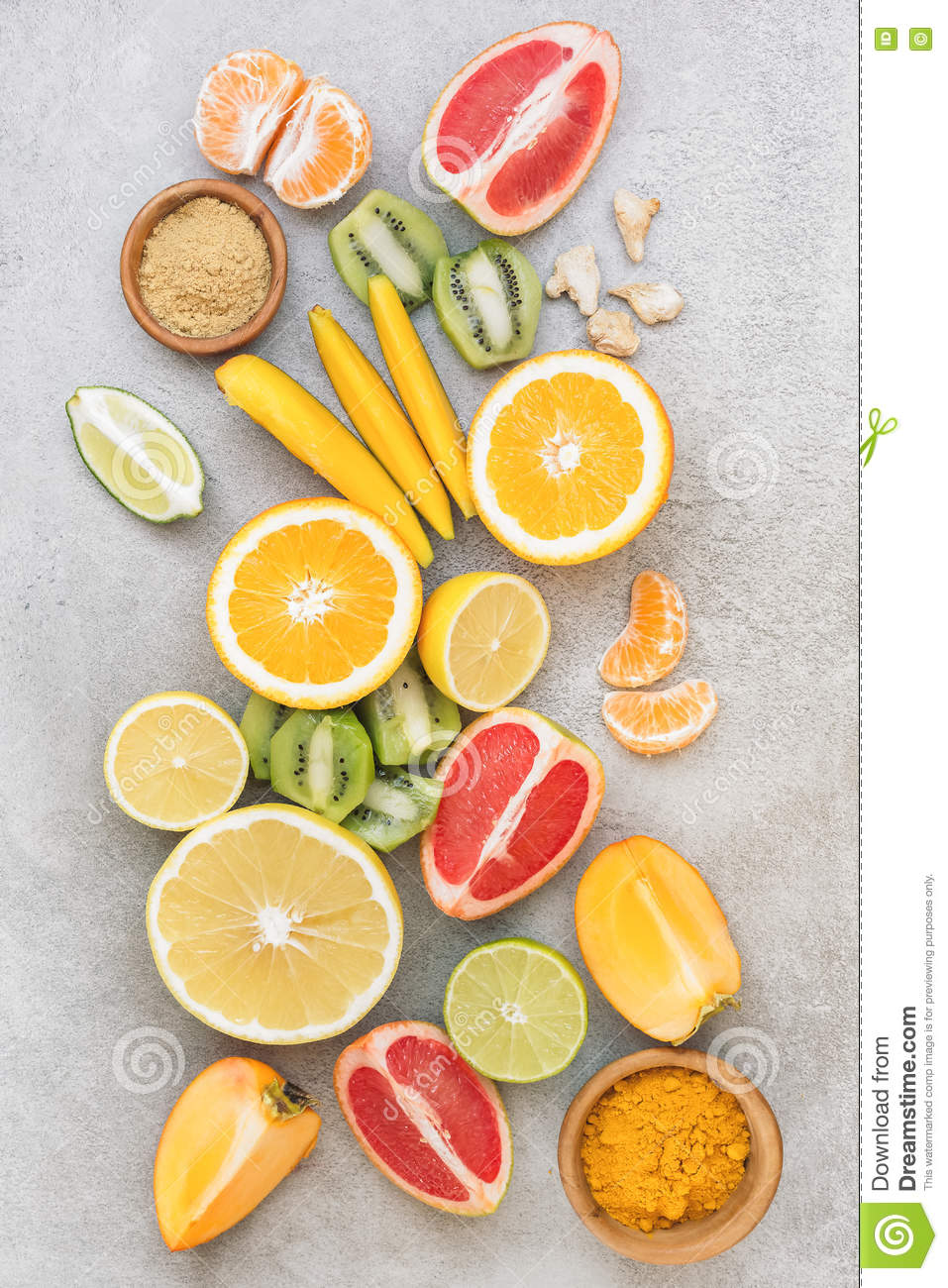 Slices of different fruits and spices