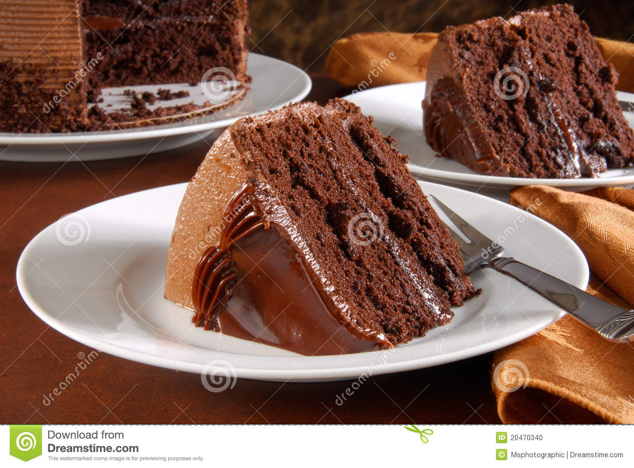 Slices Of Gourmet Chocolate Cake Stock Photo - Image: 20470340