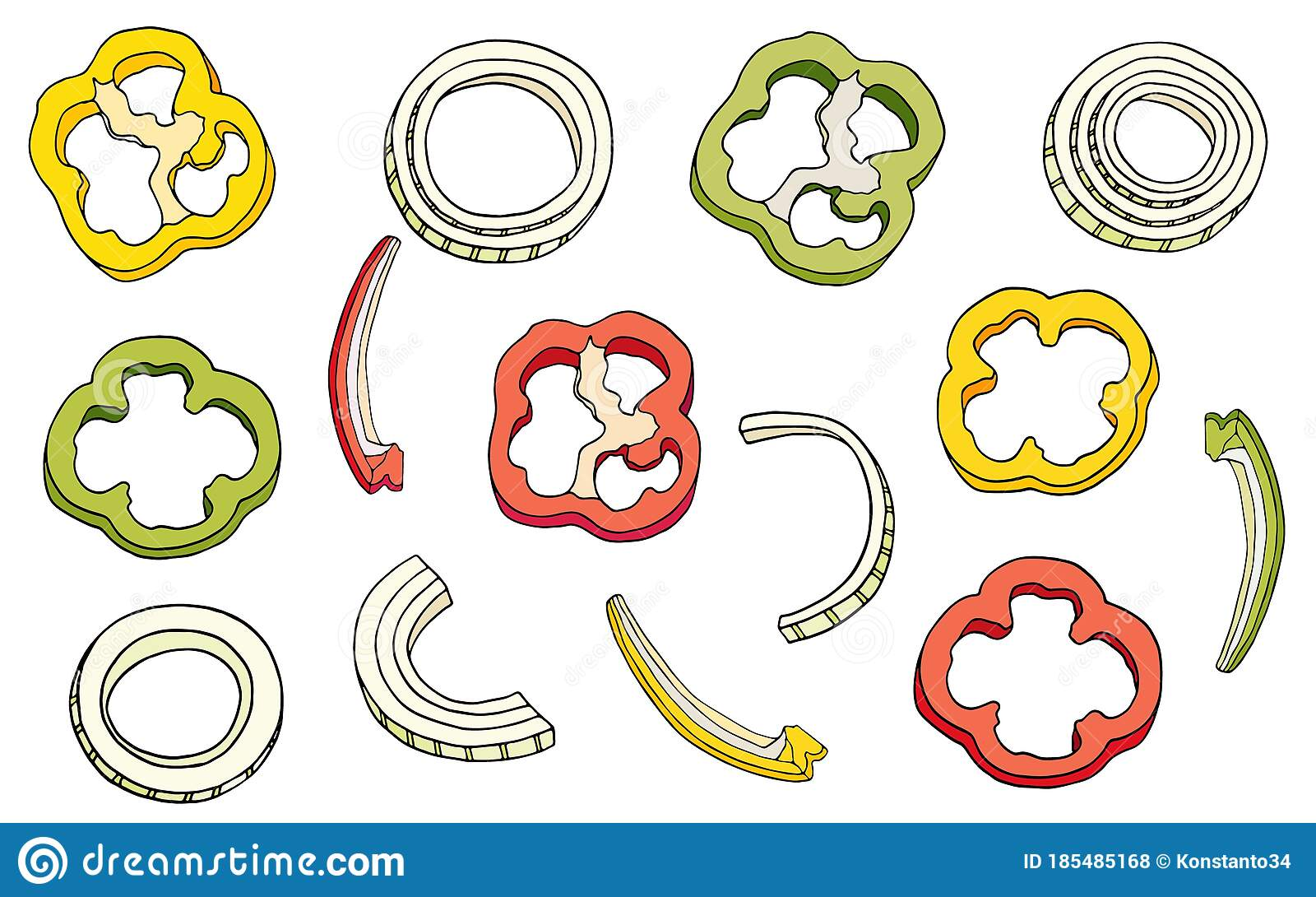 Slices Of Onions And Bell Peppers Set. Vector Cartoon ...