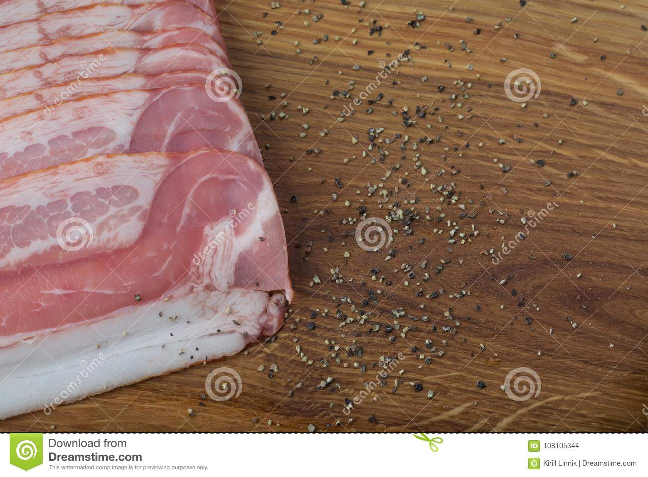 Download Ham on a wooden desk stock photo. Image of delicatessen - 108105344