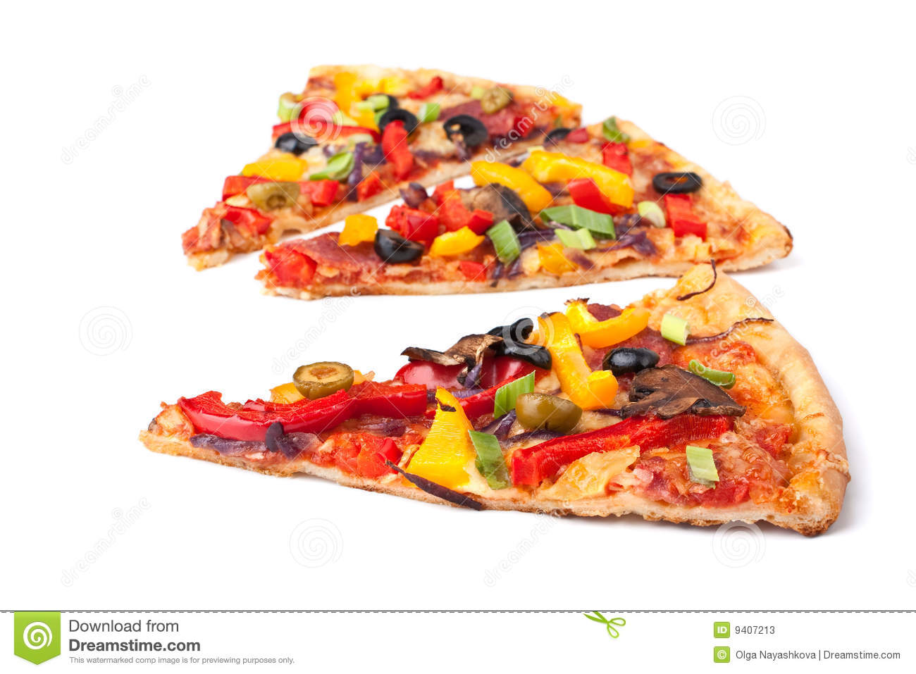 Slices of vegetable pizza