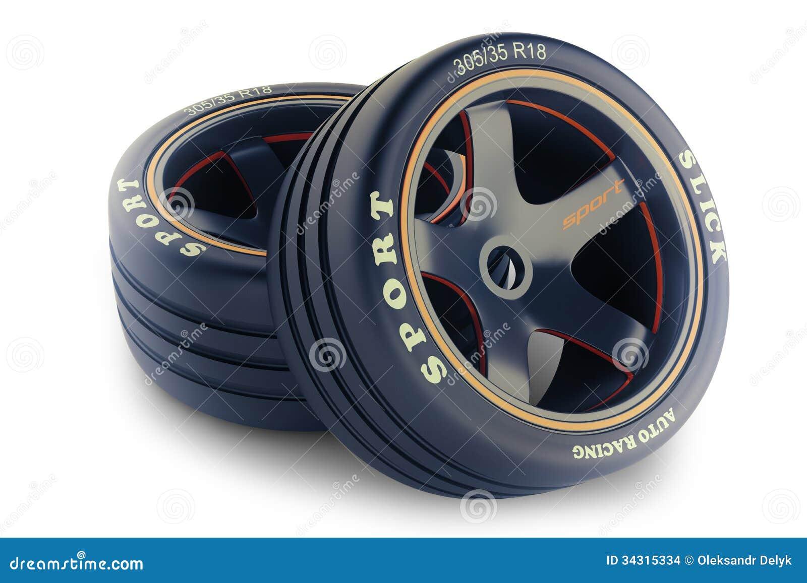 Slick Wheels Kit For Race Car Stock Images Image 34315334
