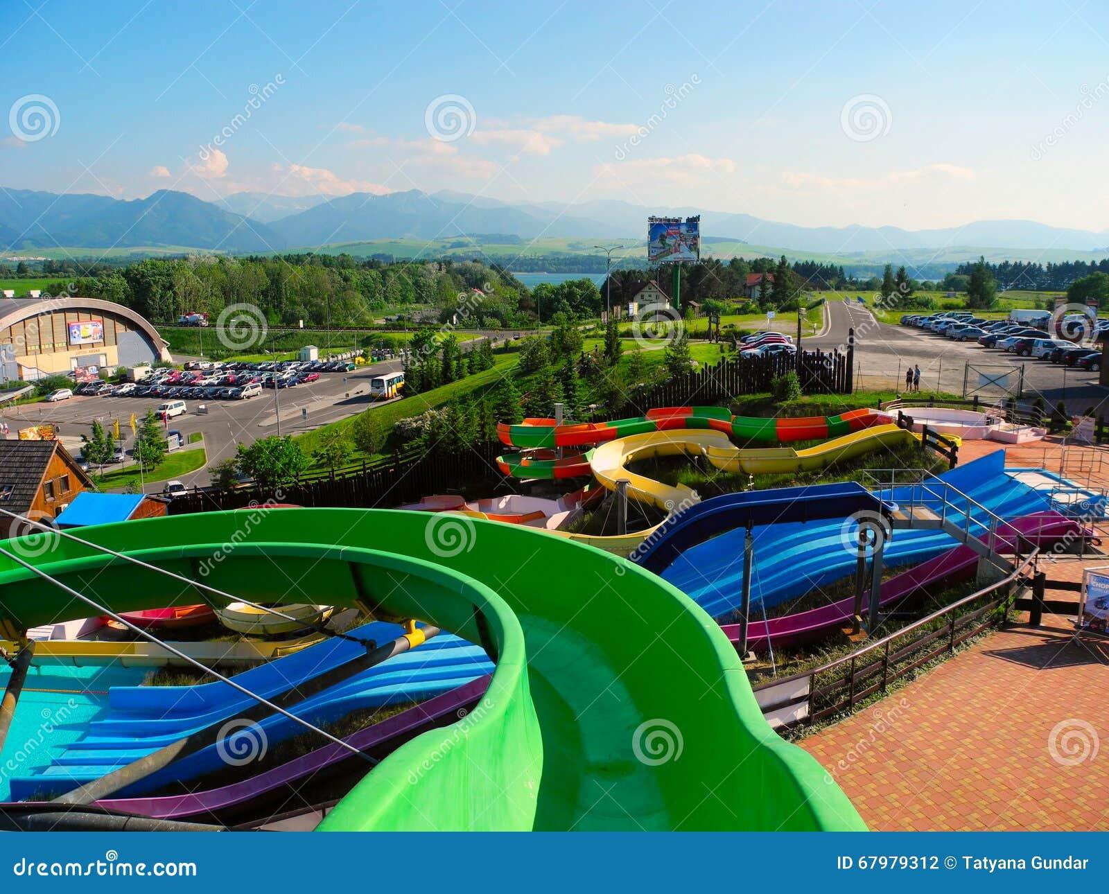 Slide at aquapark Tatralandia.