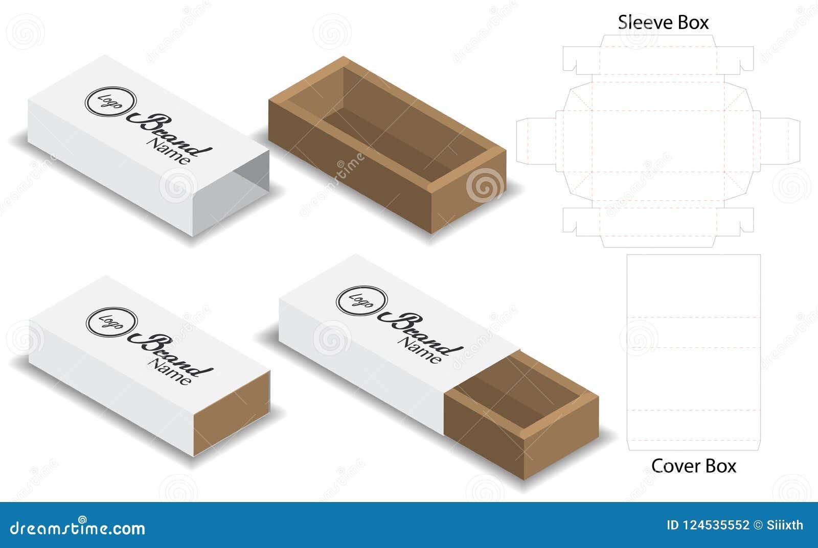 slide box die cut mock up template vector stock vector