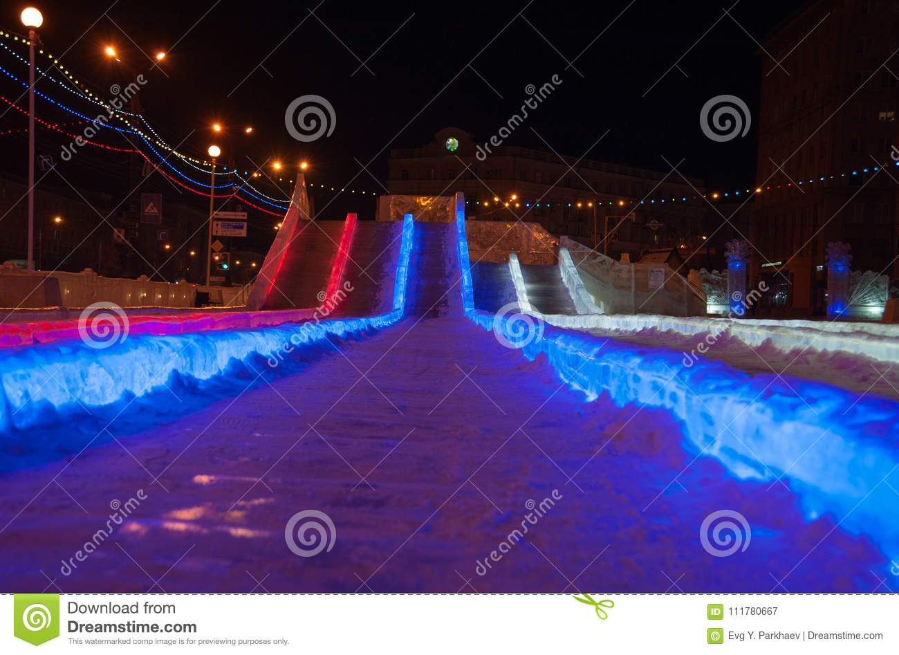Slide with color illumination, bottom view