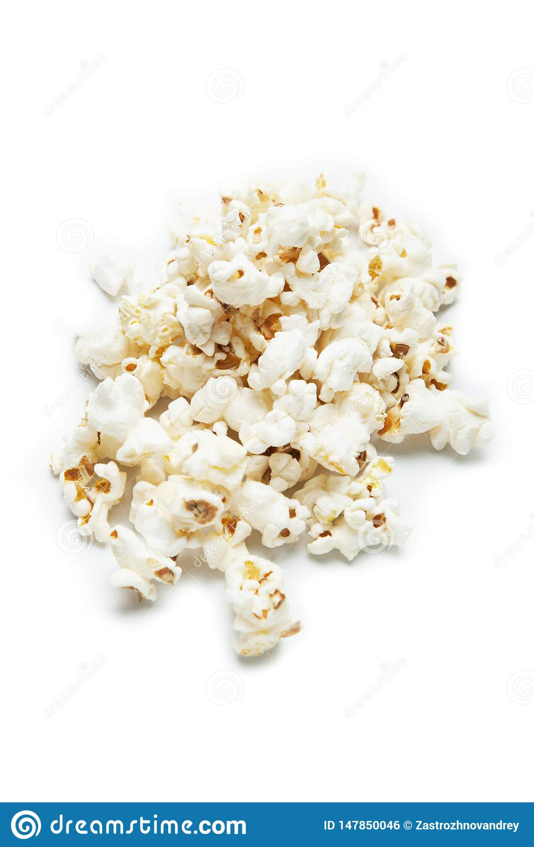 A slide of popcorn isolated on white background