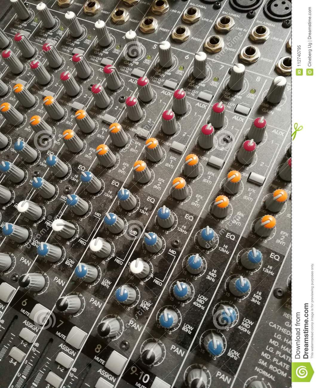 Sliders Of Sound Controller In Recording Studio Stock Image Image