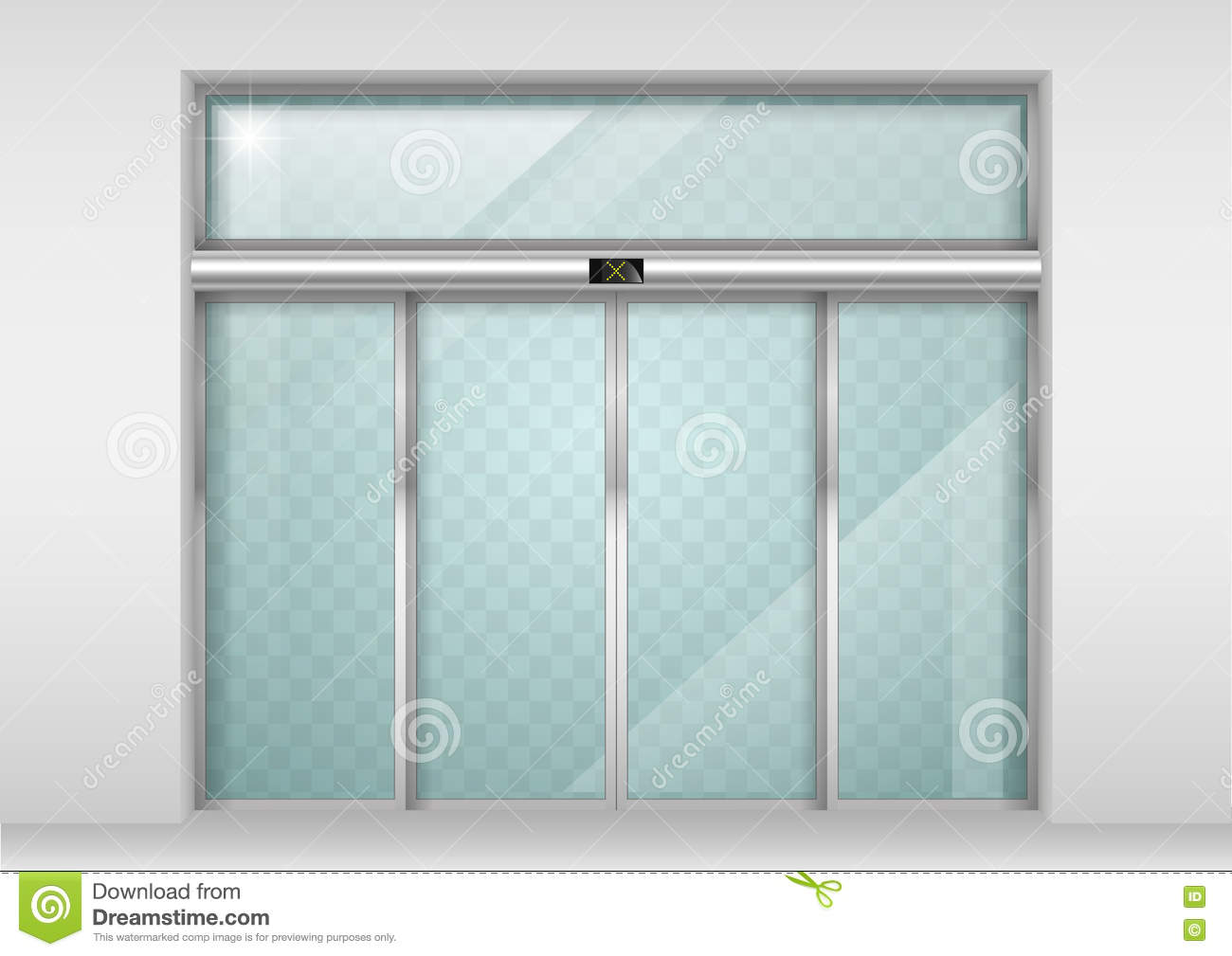 Sliding Glass Automatic Doors Stock Vector Illustration Of