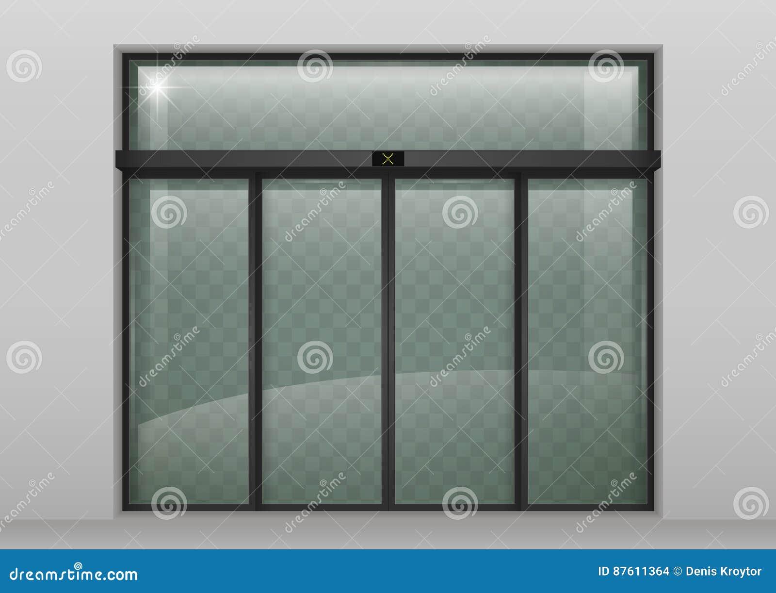 Sliding Glass Automatic Doors Stock Illustration Illustration Of