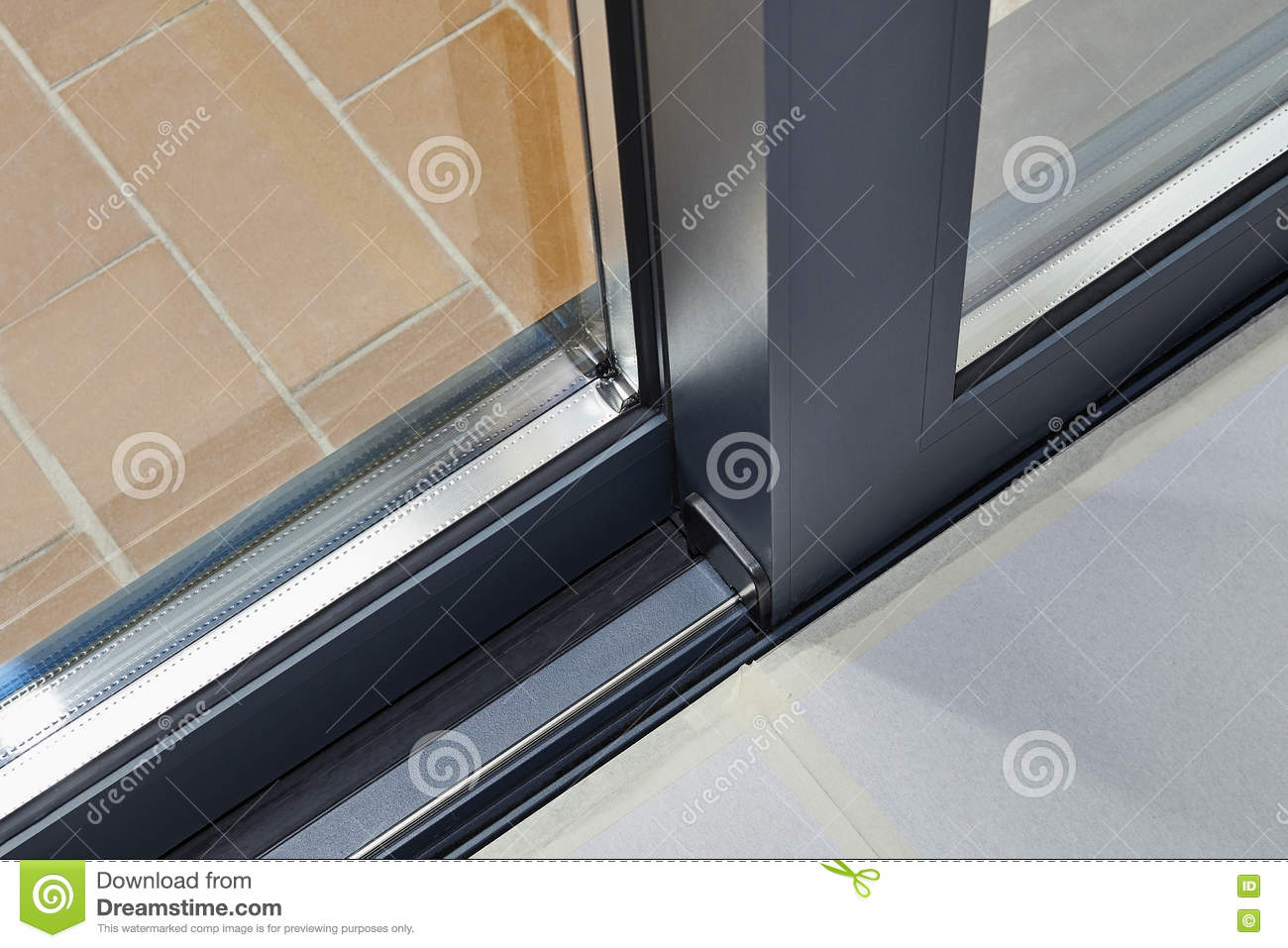 Sliding Glass Door Detail And Rail Stock Photo Image Of