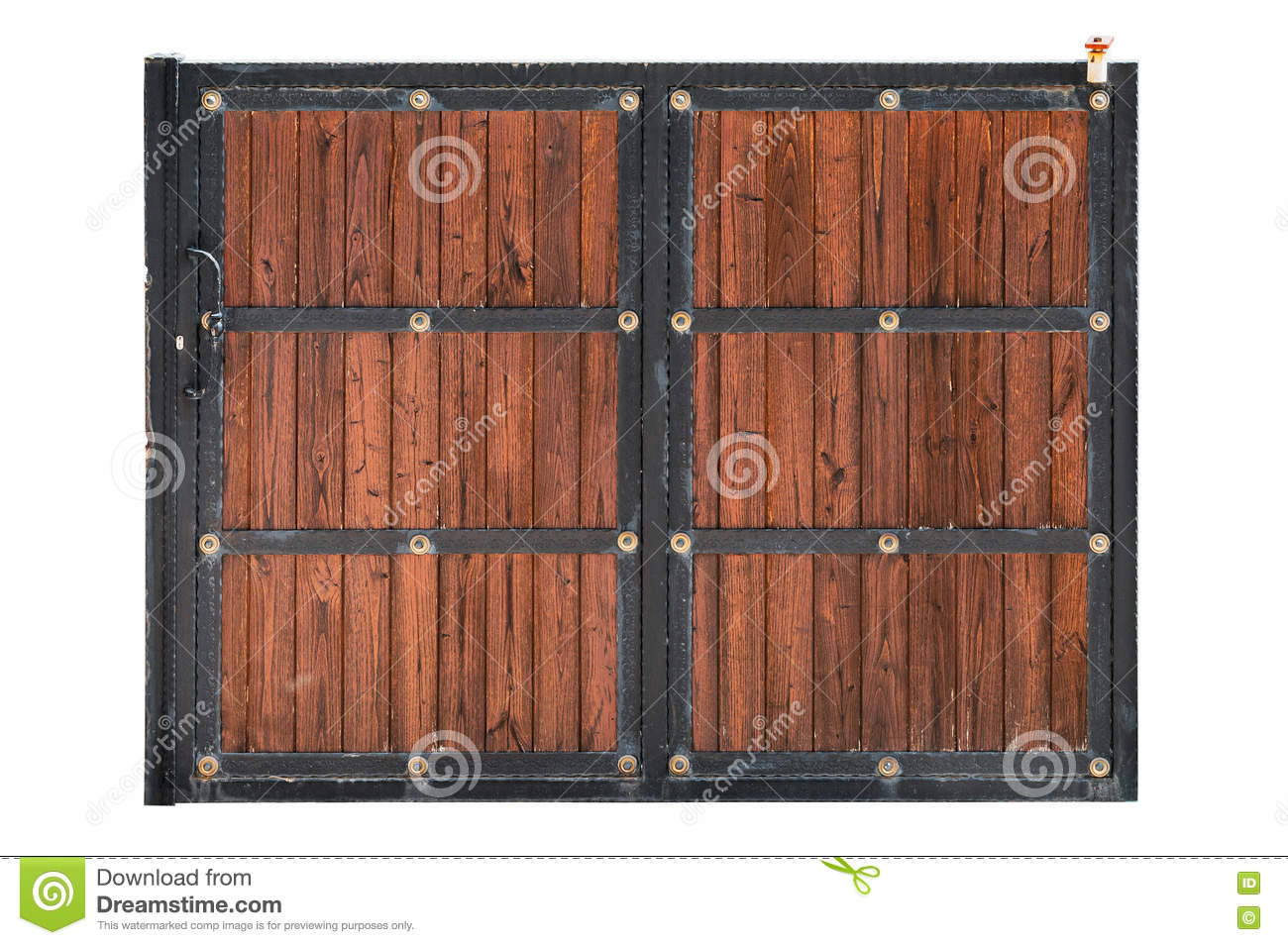 Sliding iron and wooden yard door isolated