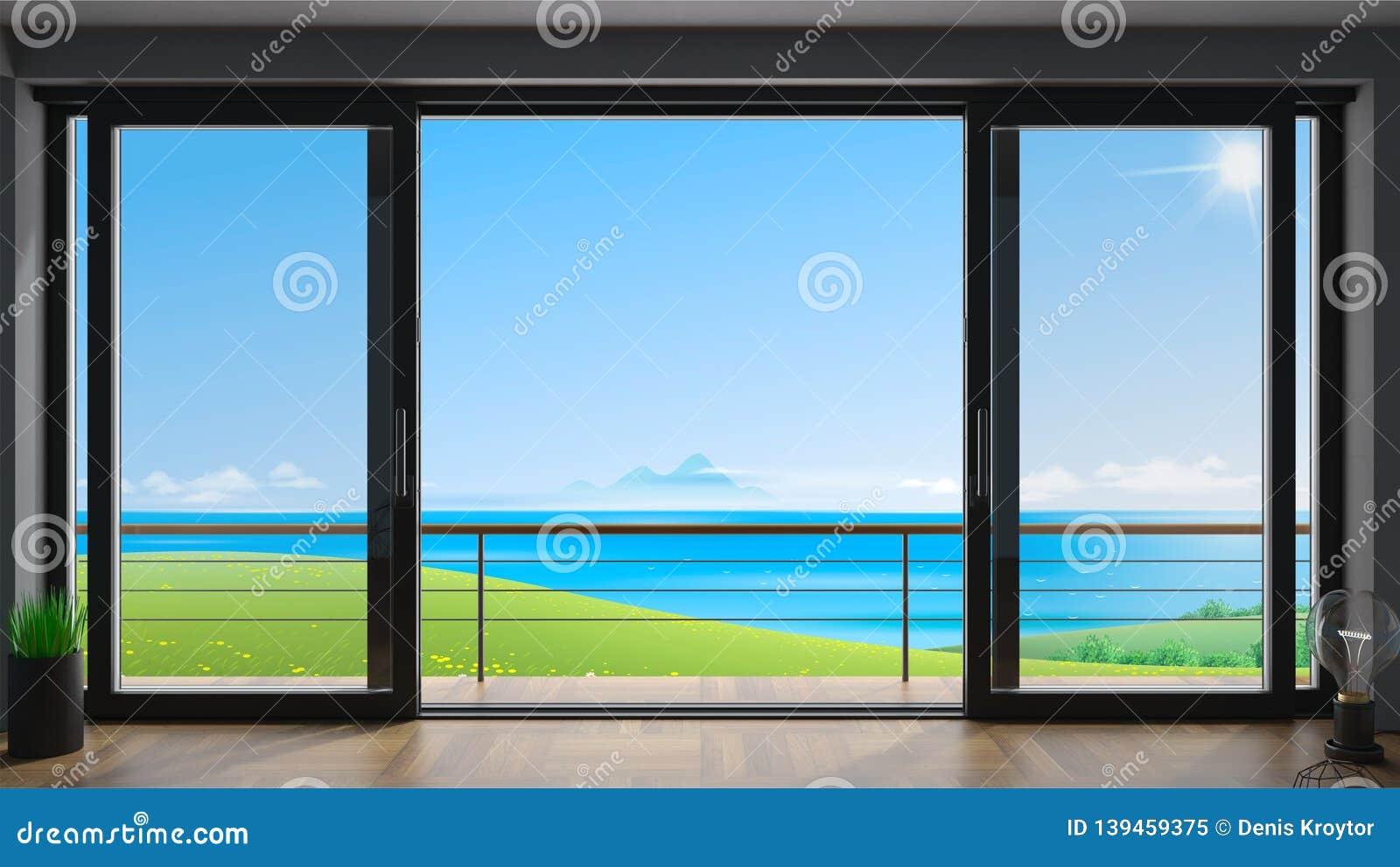 Sliding Window Villa With Sea View Stock Illustration
