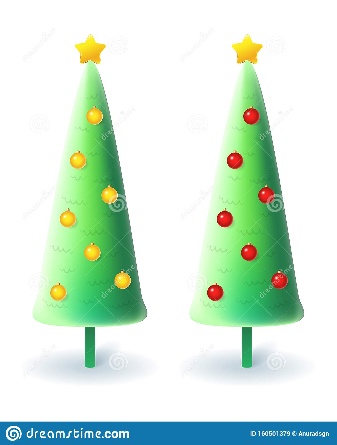 Slim Christmas Trees With Yellow And Red Decorations Vector Illustration Isolated On White Background Stock Vector Illustration Of Element Ball 160501379