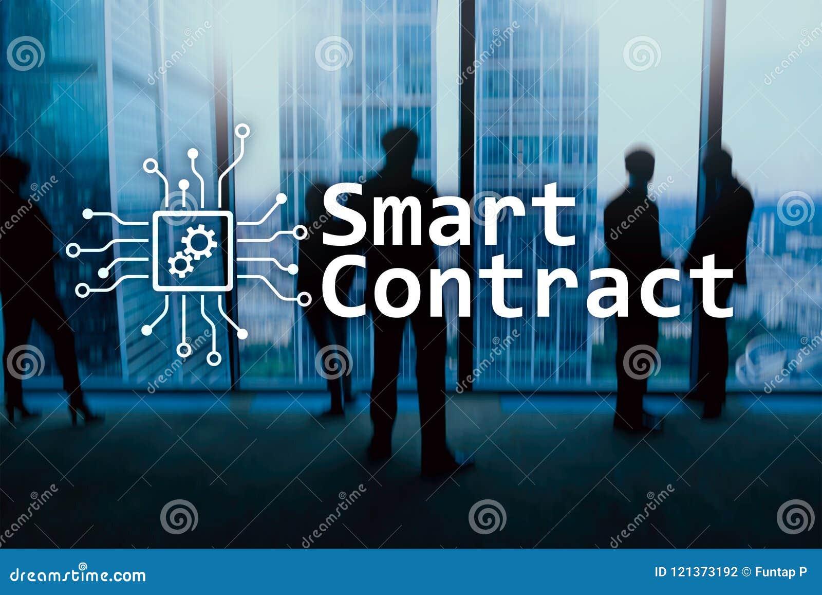 Slim contract, blockchain technologie in zaken, financiënhi-tech concept Wolkenkrabbersachtergrond