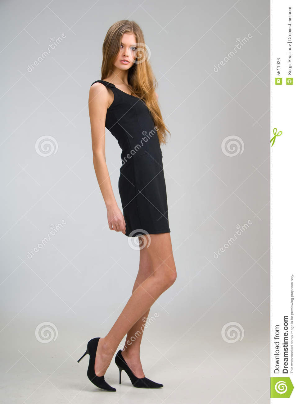 Slim Girl In Black Dress Royalty Free Stock Image Image