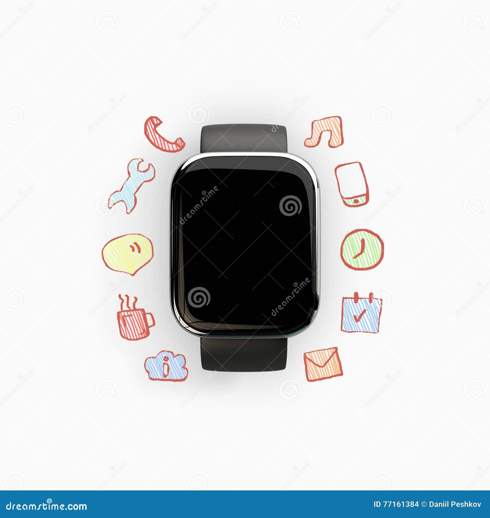 Slim horloge met communicatie pictogrammen