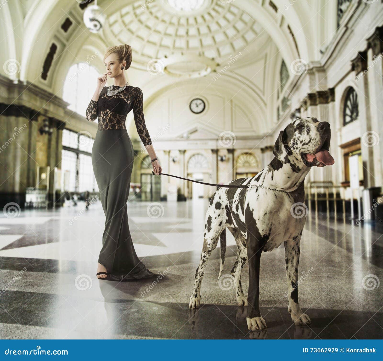 Slim jong dame het lopen verstand de hond