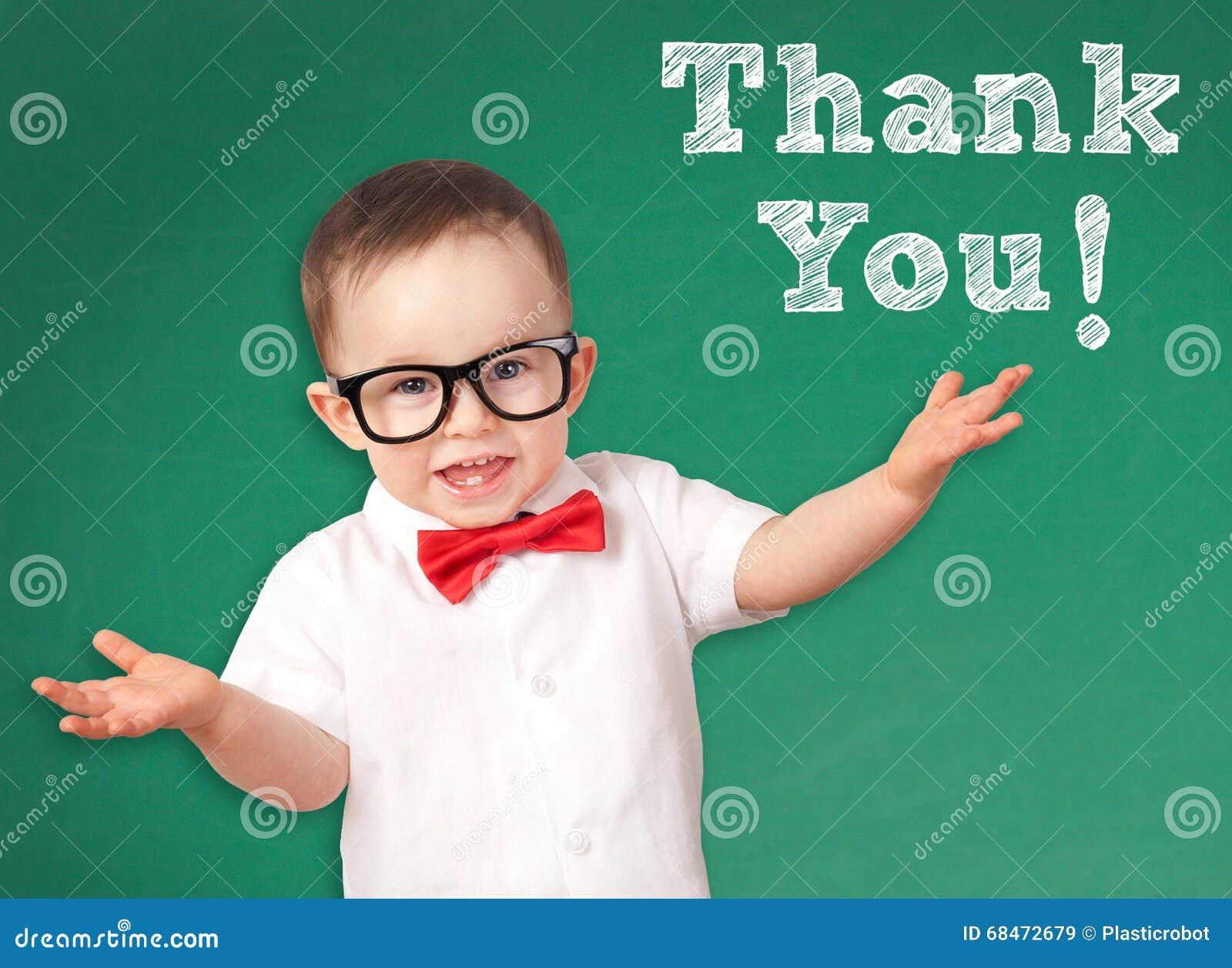 Slim Jong geitje met Thank u bericht