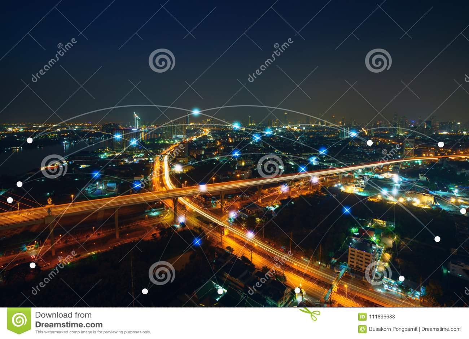 Slim stad en communicatienetwerkconcept Internet van ding