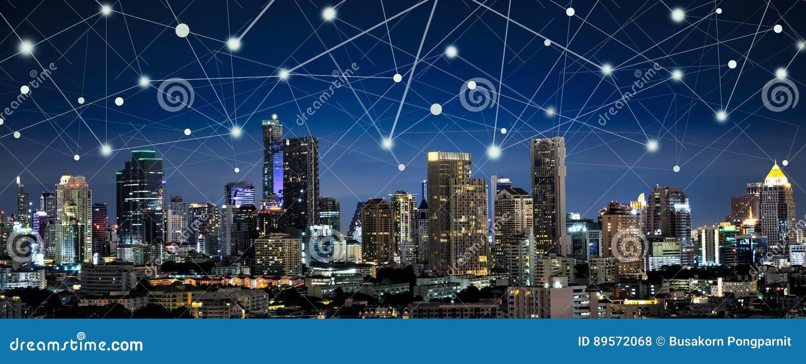 Slim stad en Internet van dingen, draadloze communicatie networ
