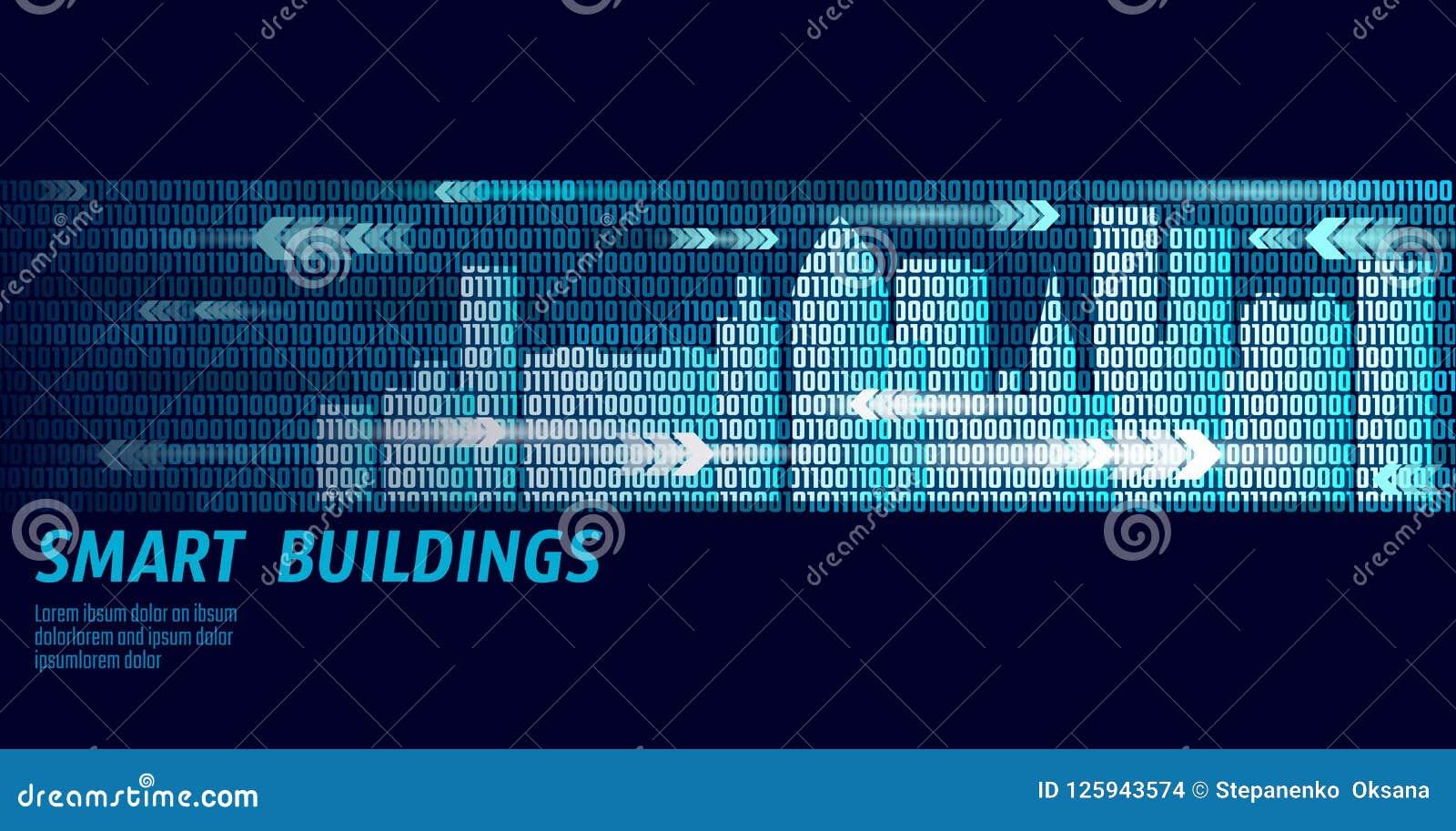 Slim stad intelligent het systeem van de de bedrijfs bouwautomatisering concept De binaire stroom van codenummergegevens Stedelij