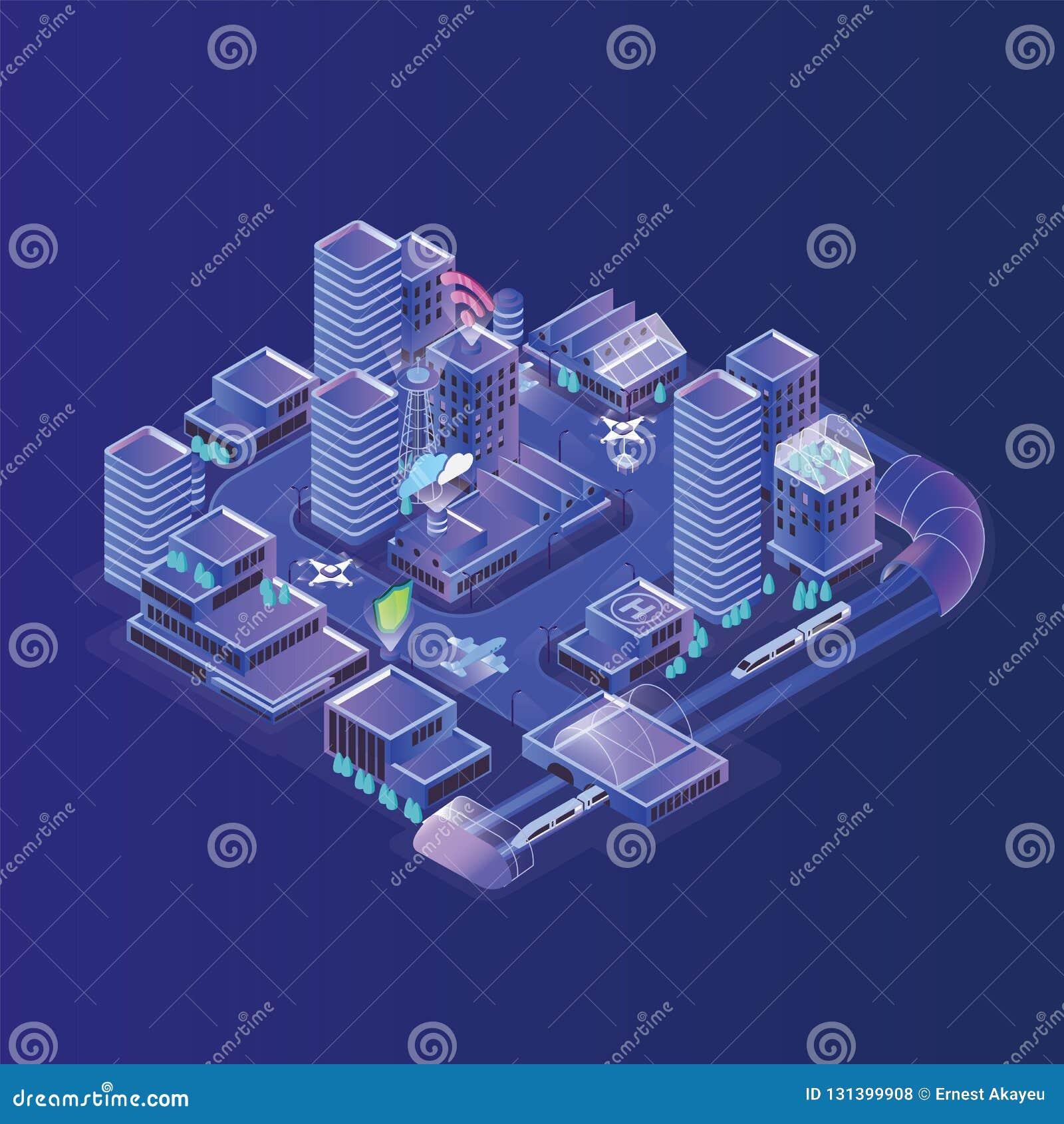 Slim stadsmodel Modern stedelijk gebied, district met elektronisch het leiden van verkeer, efficiënt energieverbruik