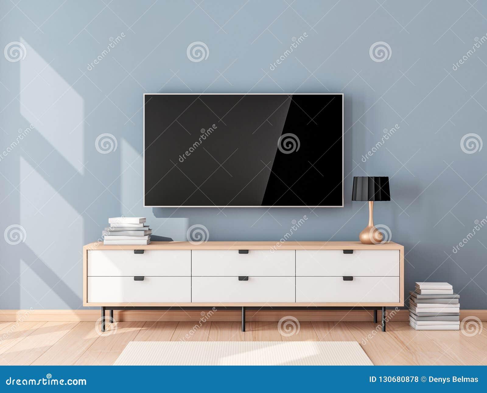 Slim TV-Model met het lege het scherm hangen op de muur in moderne woonkamer
