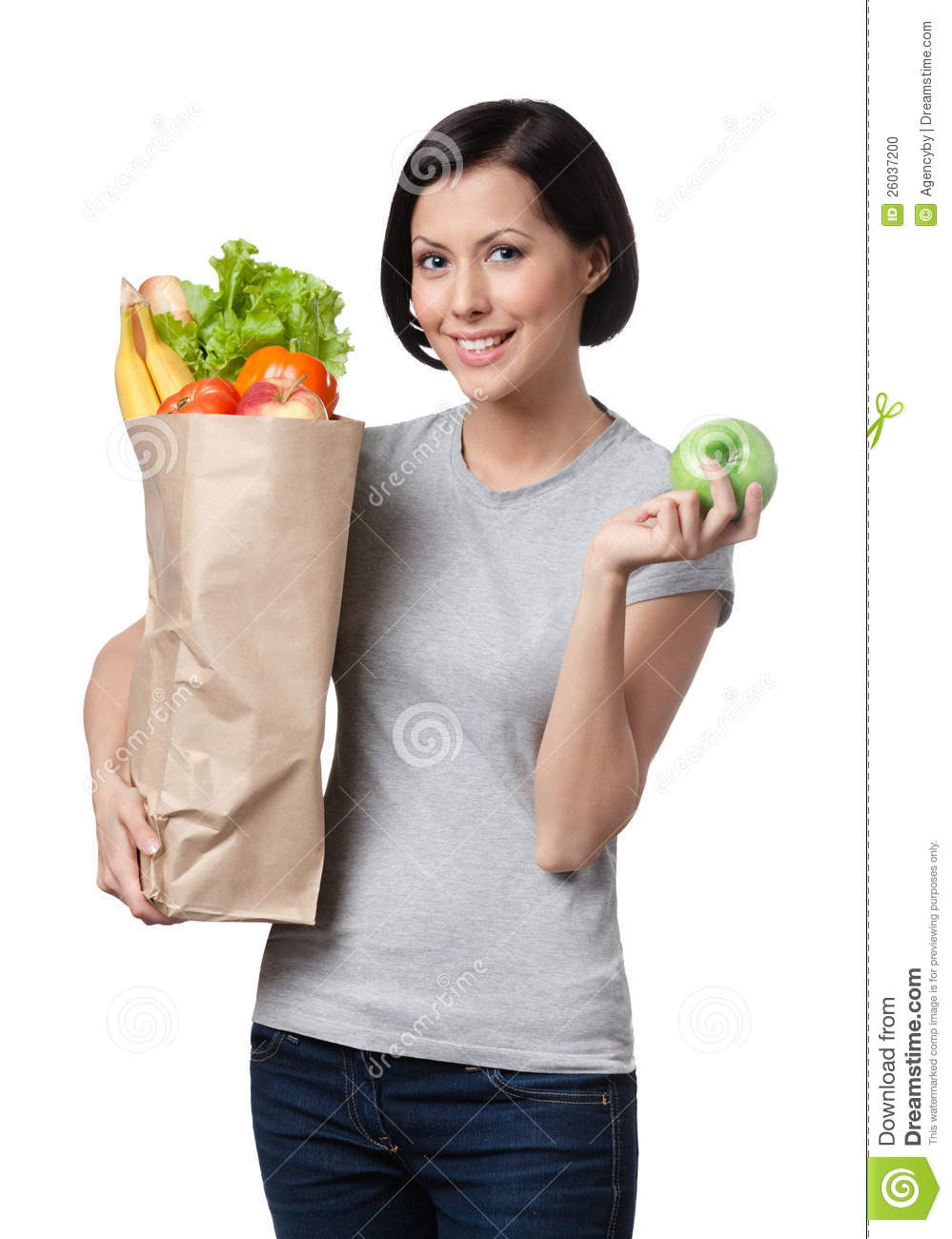 Slim woman with healthy food isolated white background
