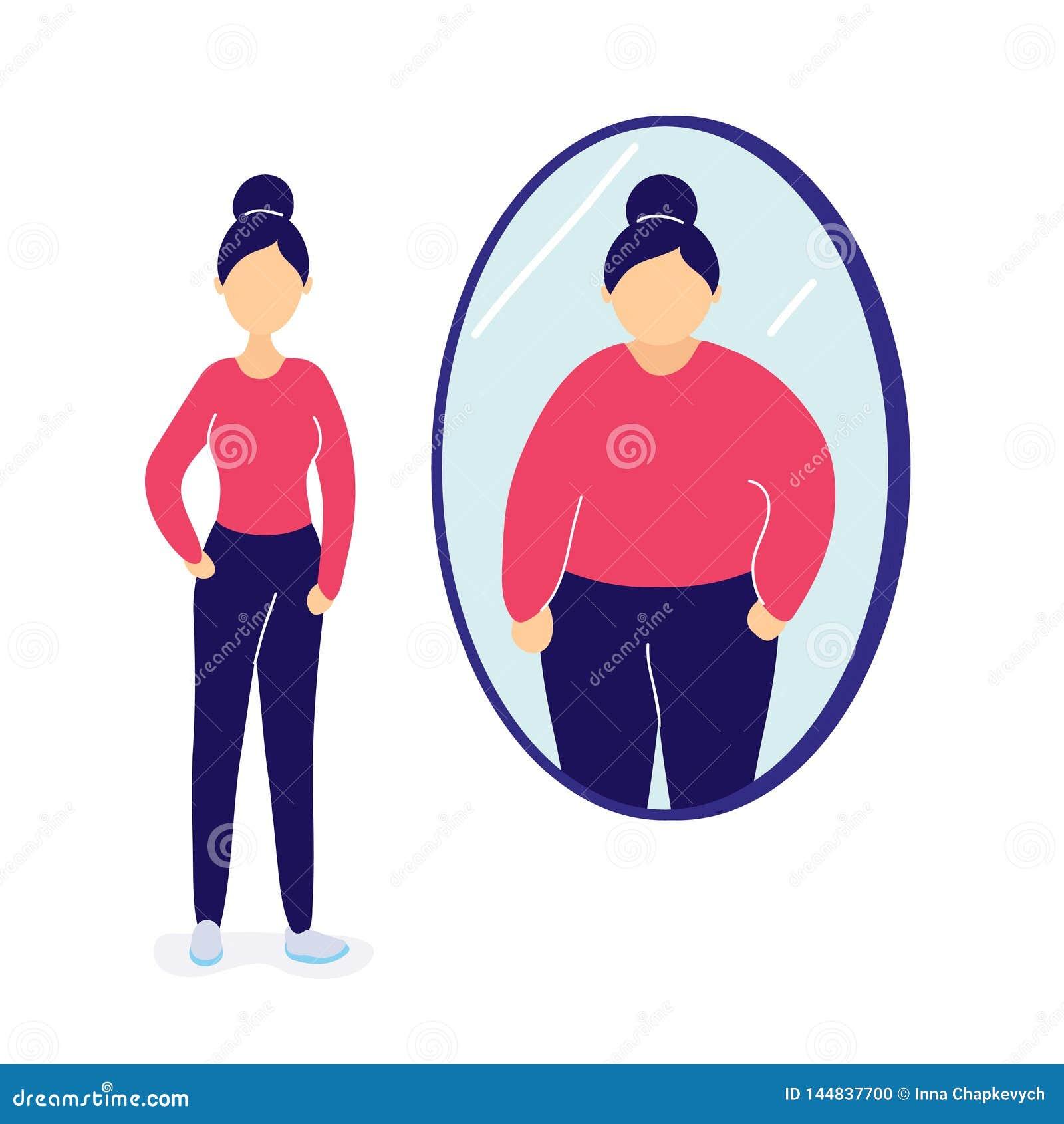 Slim woman seeing herself fat in mirror