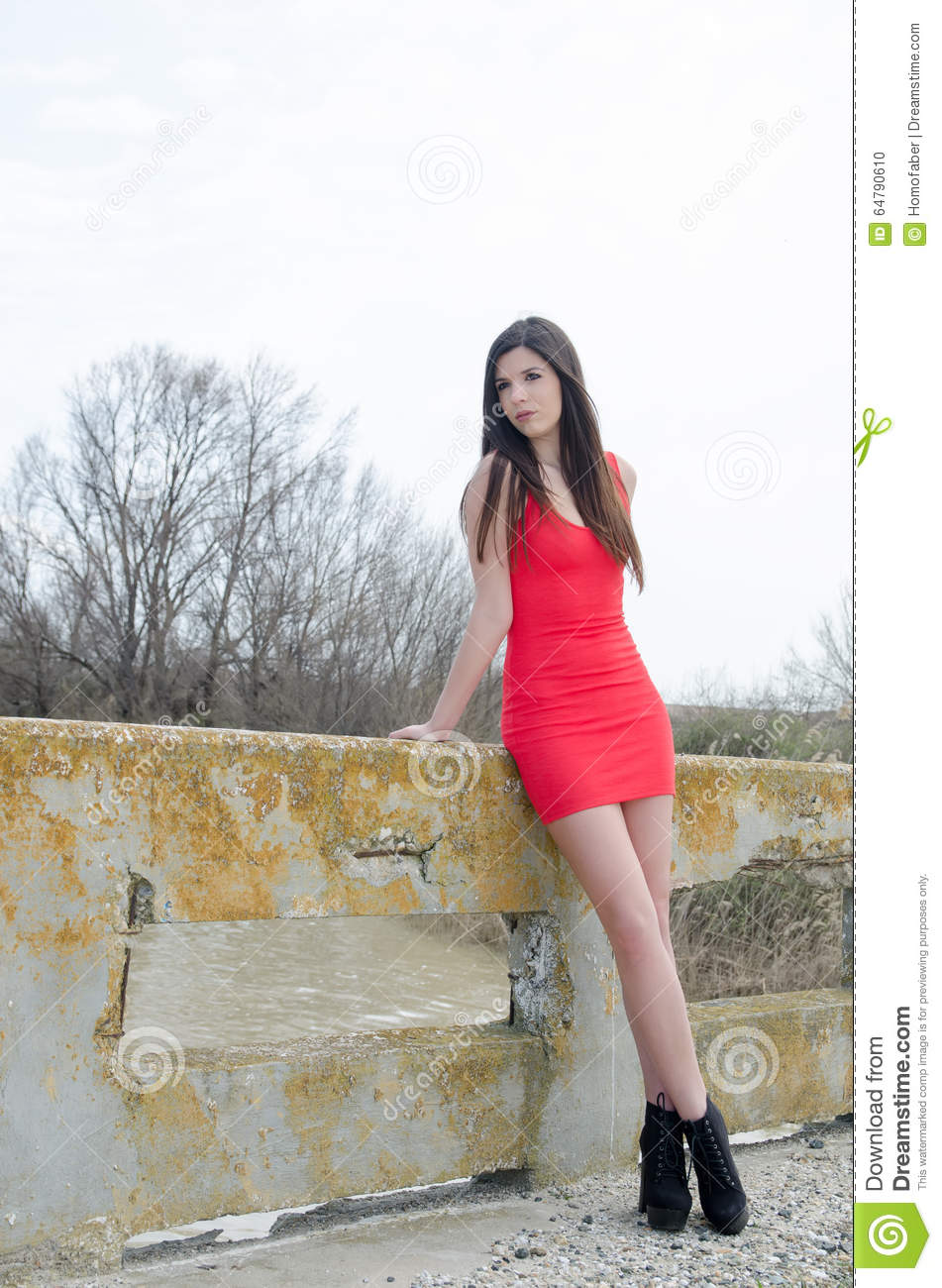 Slim Woman Wear Short Red Dress And High Heels Stock Photo ...