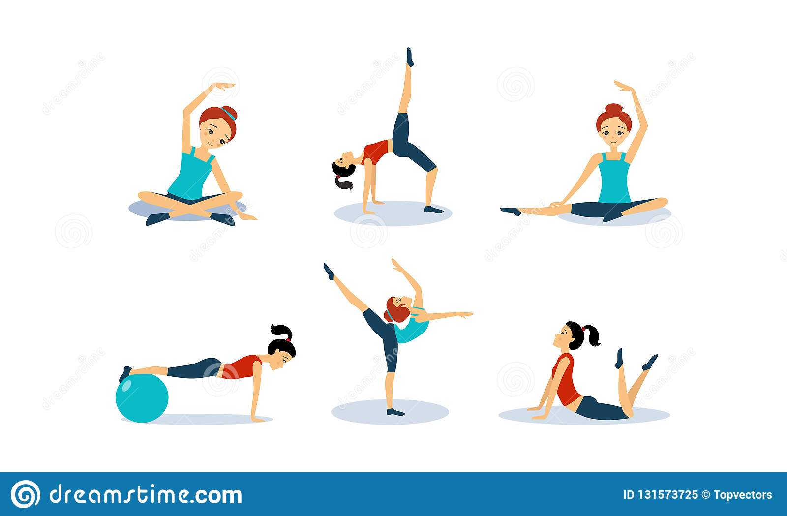Slim young woman doing fitness workout, active healthy lifestyle concept vector Illustration on a white background