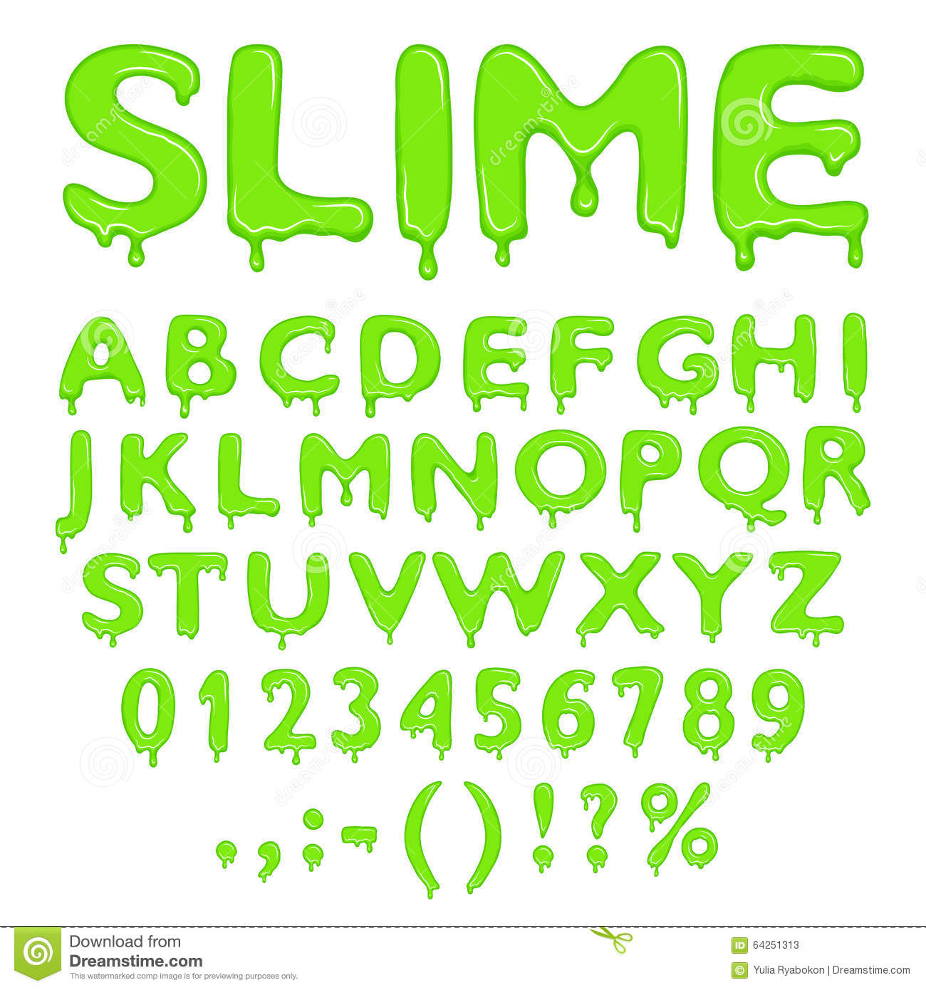 Slime Alphabet Numbers And Symbols Stock Vector Image