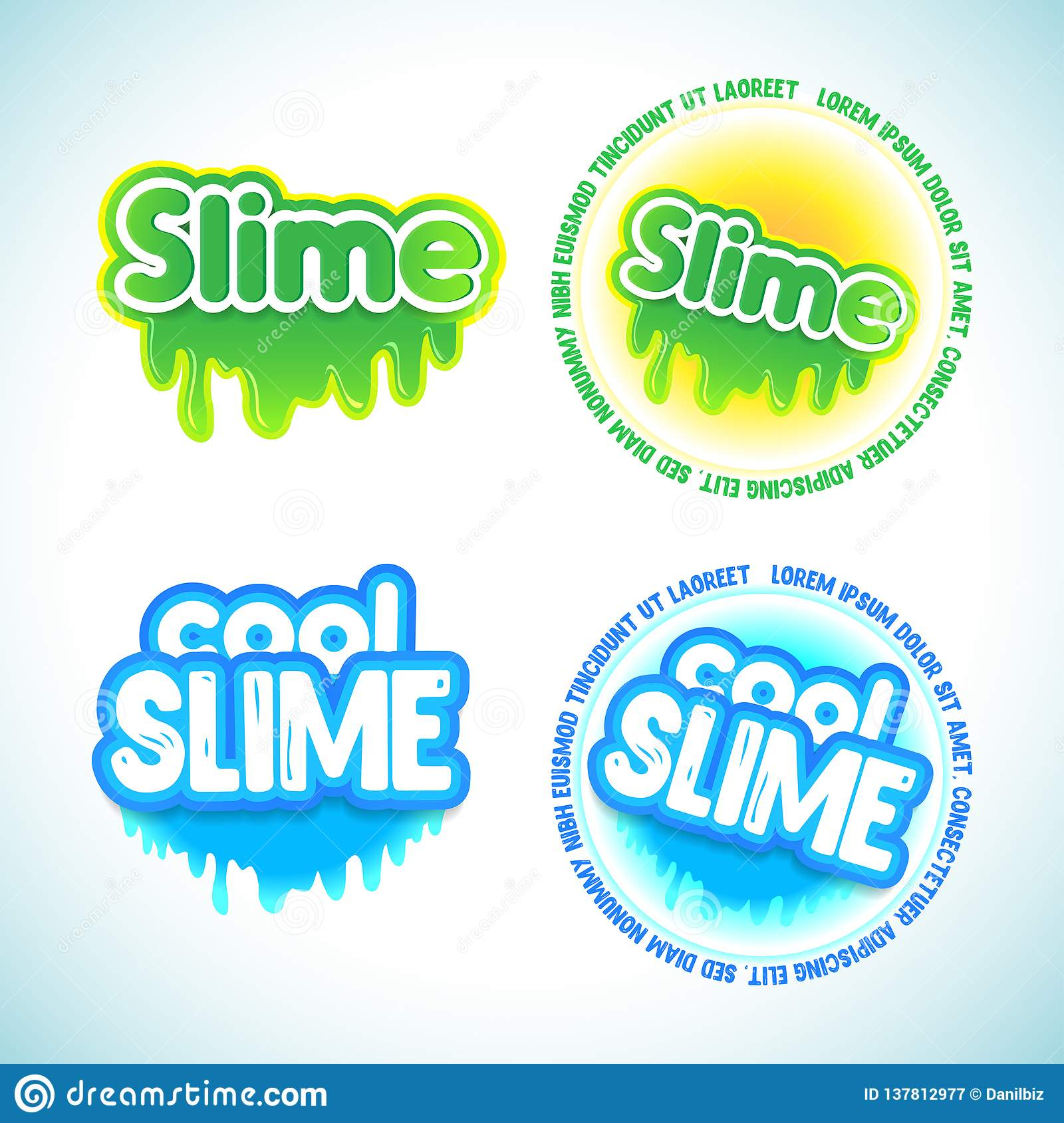 Slime Logotype Templates Set Liquid Green And Blue Slime Stock