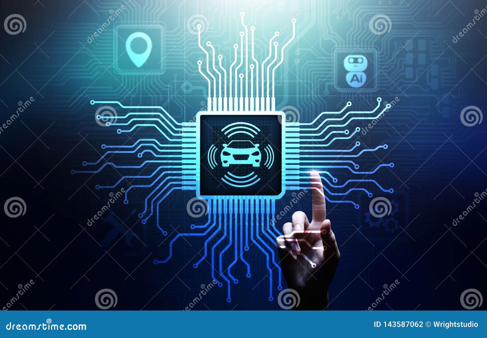 Slimme auto IOT en het moderne concept van de automatiseringstechnologie op het virtuele scherm