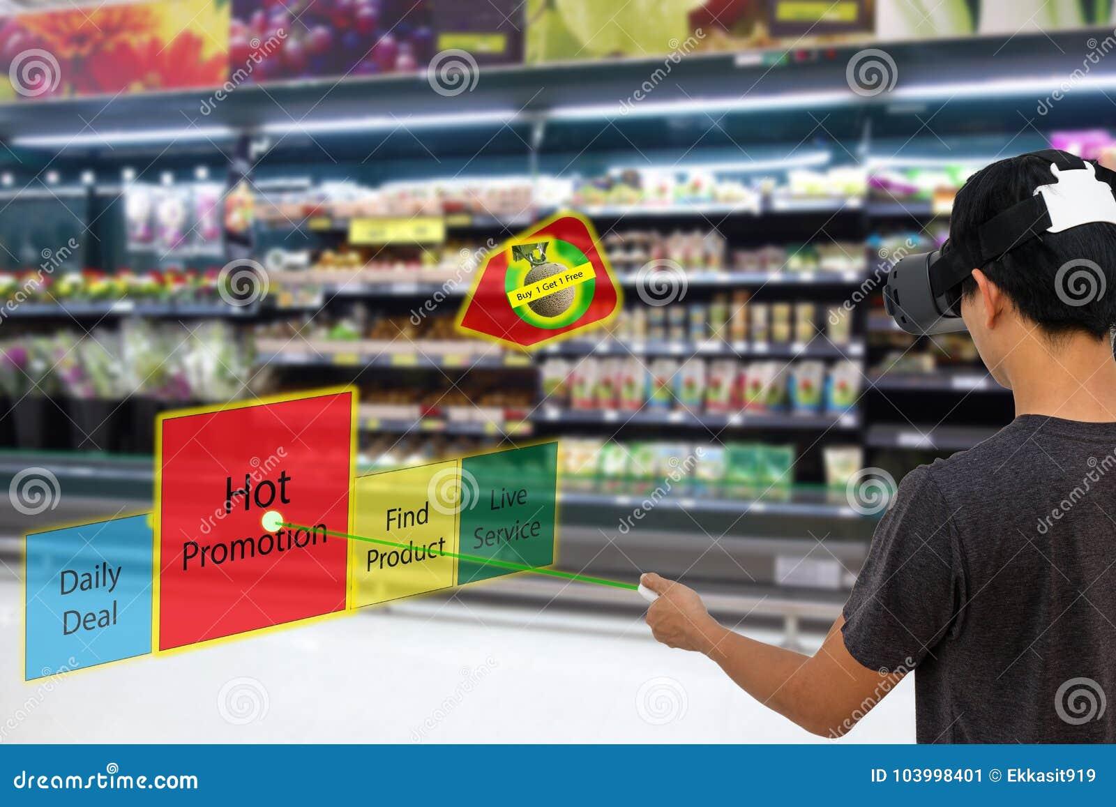 Slimme kleinhandels met vergrote en virtuele conce van de werkelijkheidstechnologie