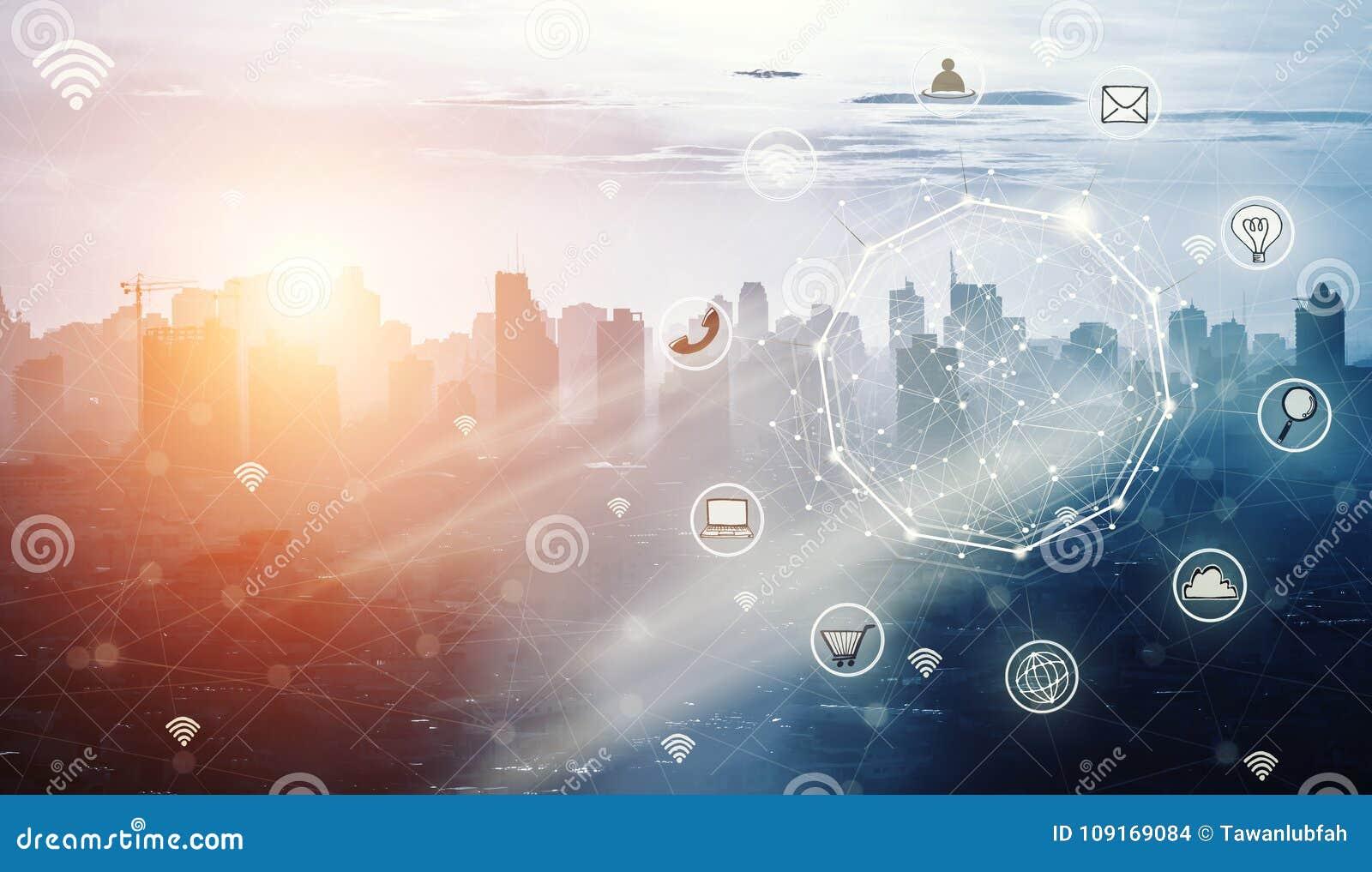 Slimme stad en draadloos communicatienetwerk, abstract beeld vi