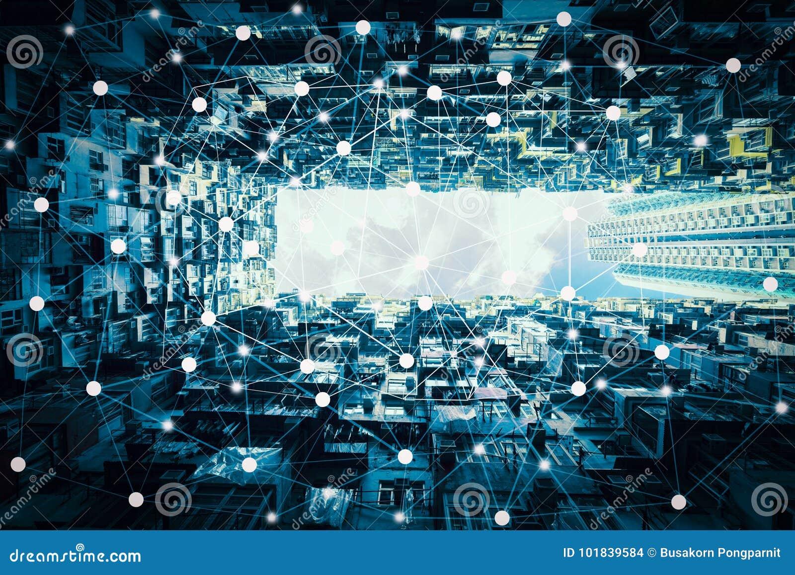 Slimme stad en draadloos communicatienetwerk, abstract visueel beeld