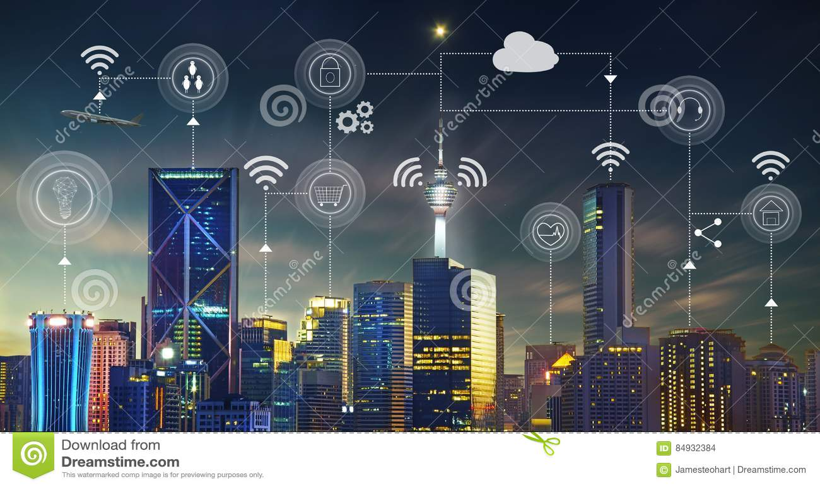 Slimme stad met eigentijdse gebouwen, verkeer, netwerken