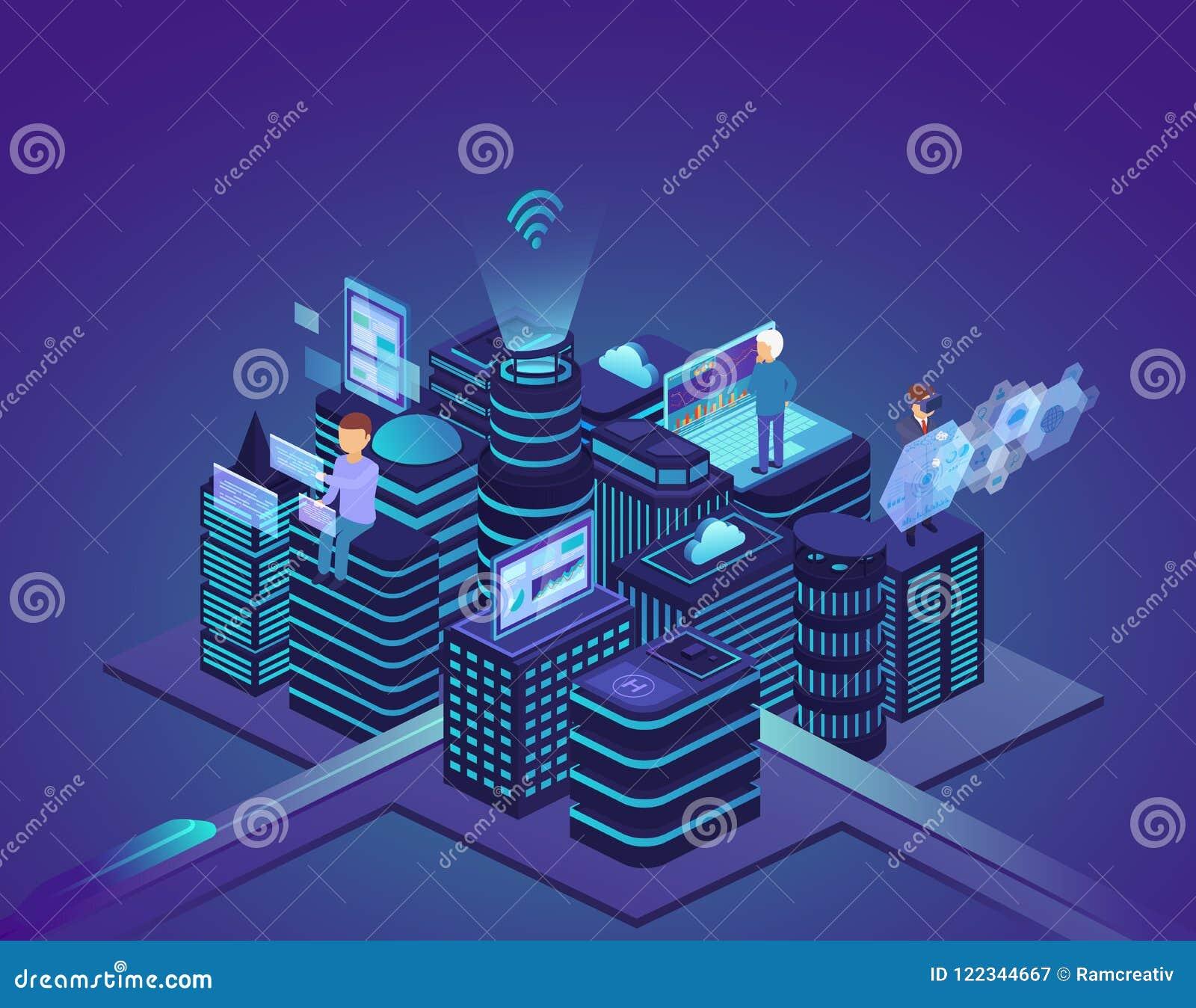 Slimme stad van geavanceerd technisch Controlesysteem en automatisering van stadsprocessen met hulp van computer draadloos netwer