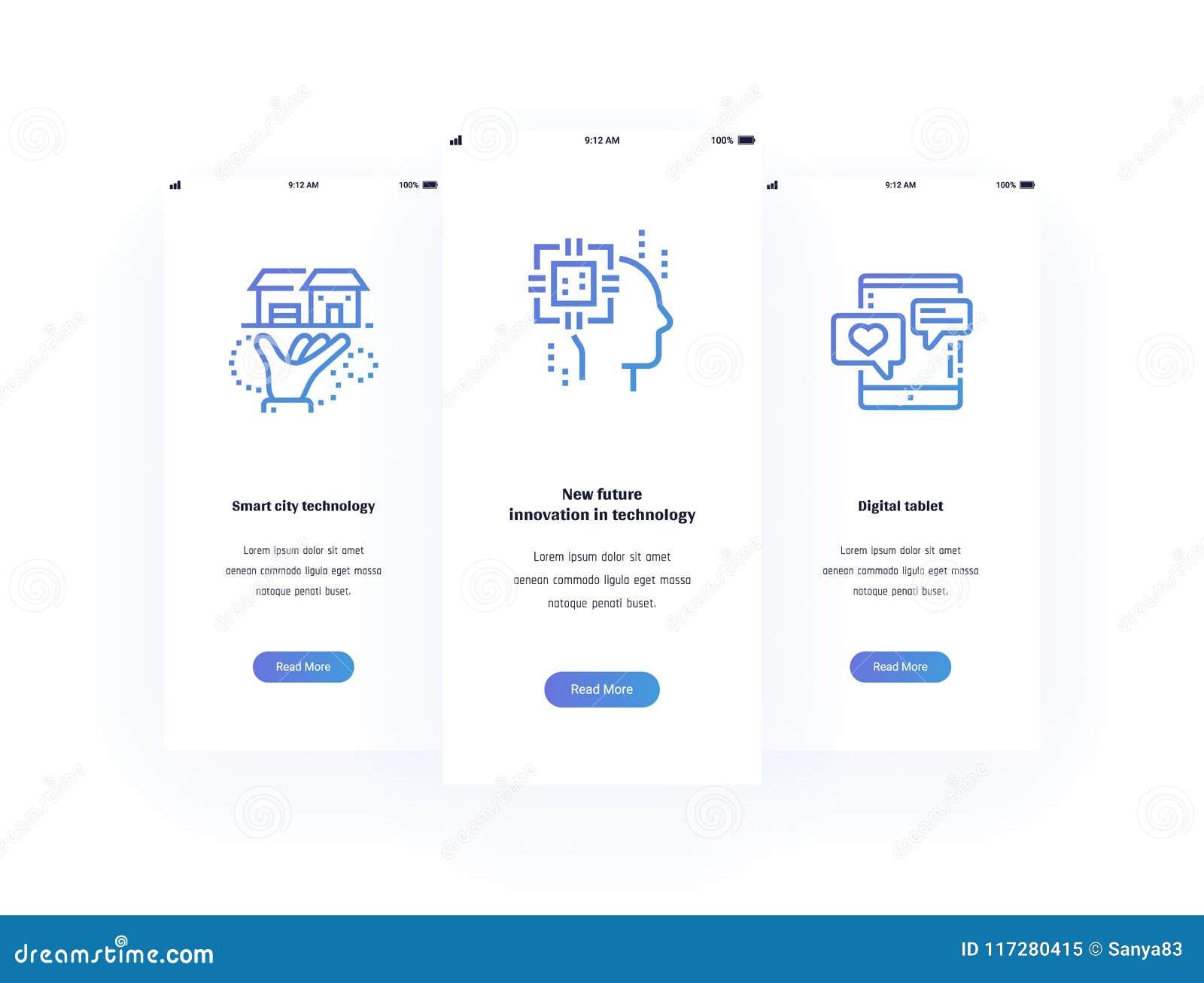 Slimme stadstechnologie, Nieuwe toekomstige innovatie in technologie, Digitale tablet Verticale Kaarten met sterke metaforen