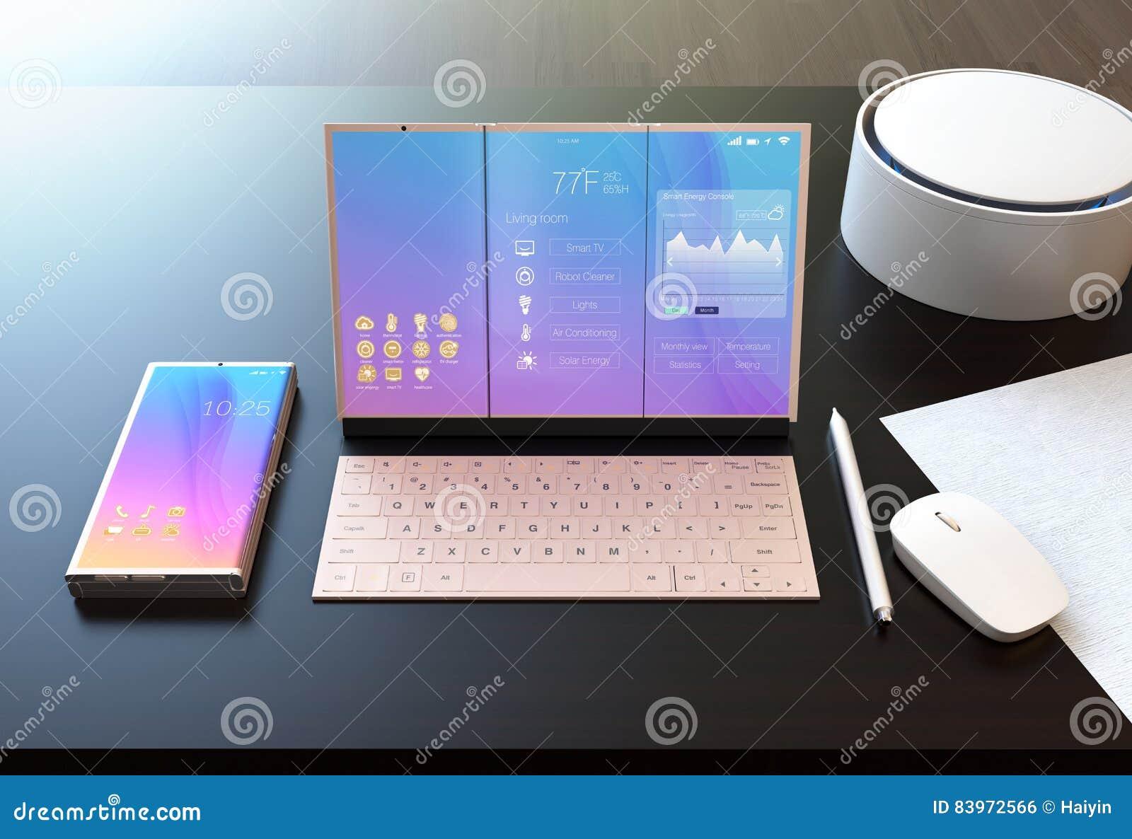 Slimme telefoon, tabletpc, digitale pen, toetsenbord en stemmedewerker op een donkere houten lijst