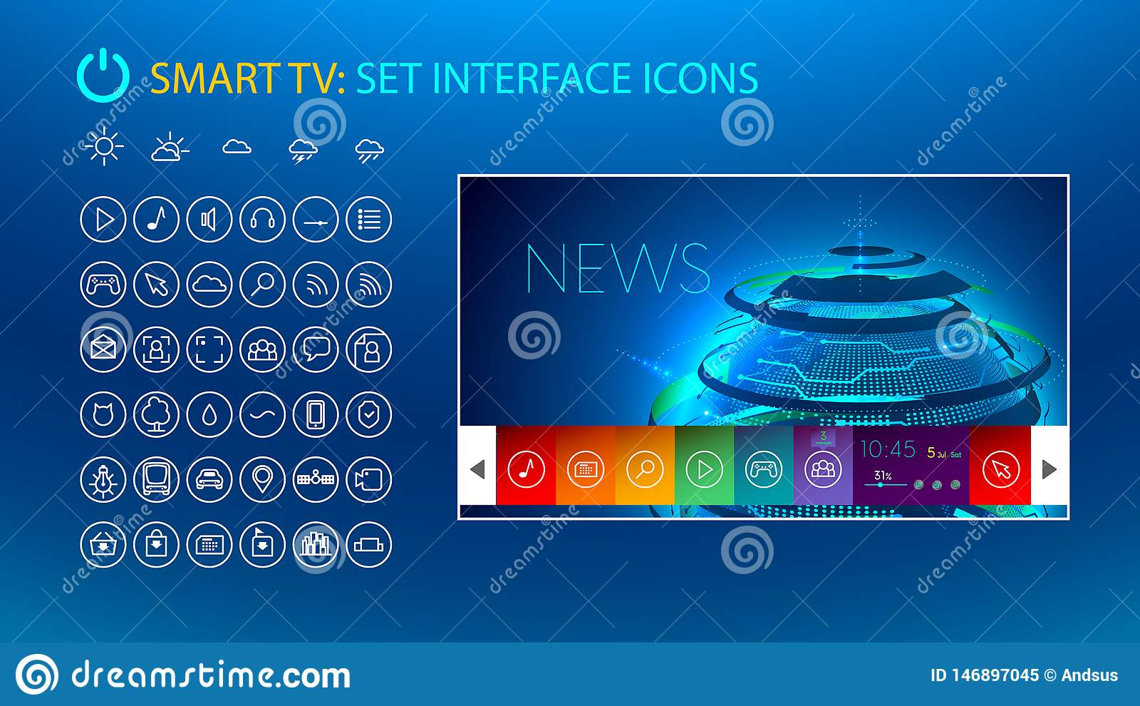 Slimme TV Vastgestelde pictogrammen voor slimme TV-interface