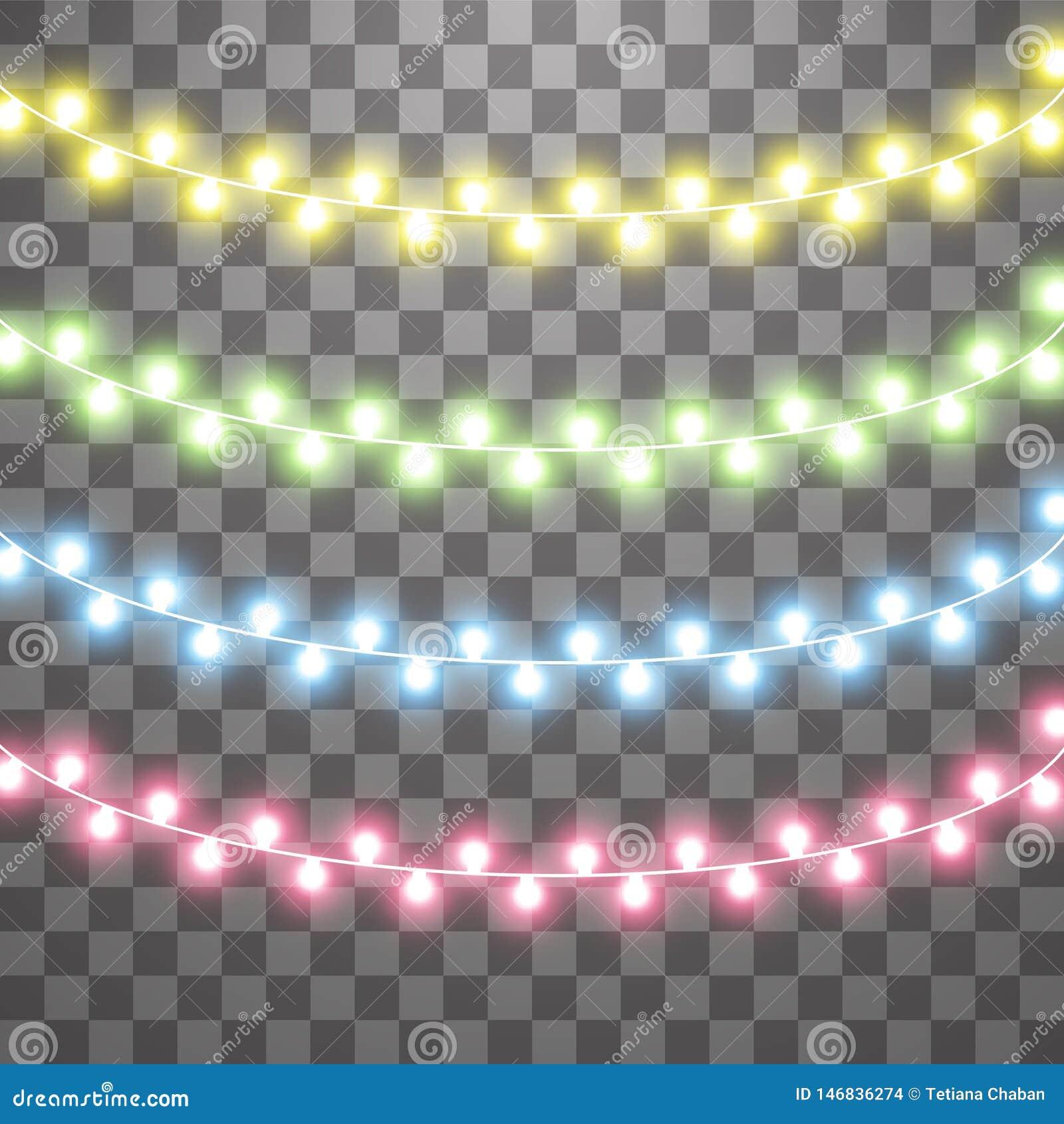 Slingers, de lichteffecten van Kerstmisdecoratie Ge?soleerde Vectorontwerpelementen Het gloeien Lichten voor Kerstmisvakantie