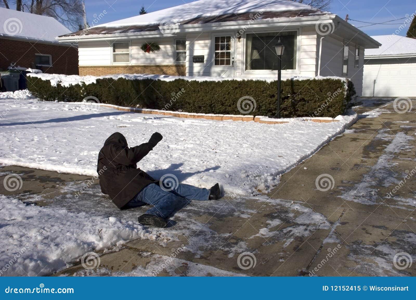Slip för trottoar för olycksfallutgångspunkt icy