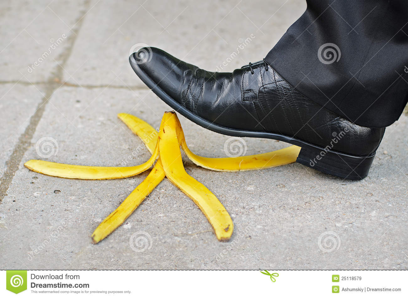 Slip And Fall On A Banana Skin Stock Image - Image: 25118579